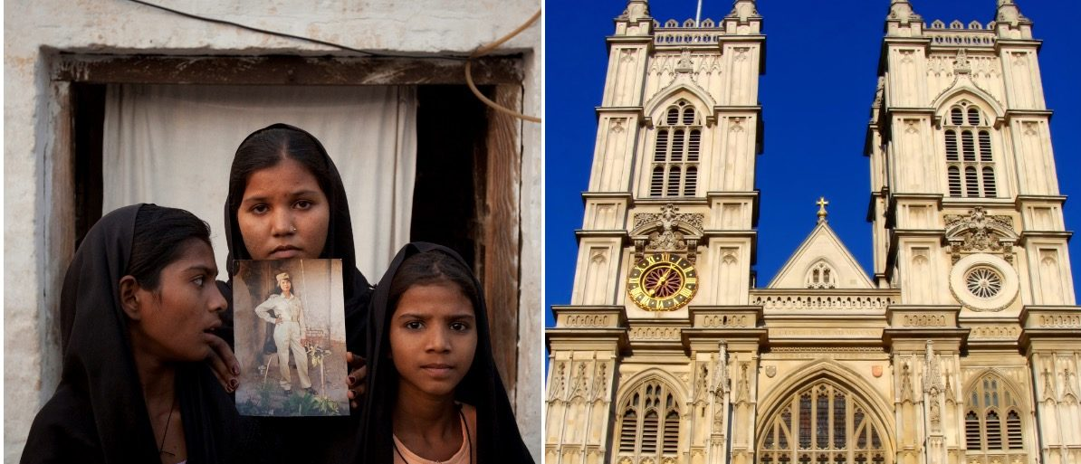 Bibi daughters and Westminster Abbey (LEFT: REUTERS/Adrees Latif/File Photo RIGHT: JeniFoto/Shutterstock)