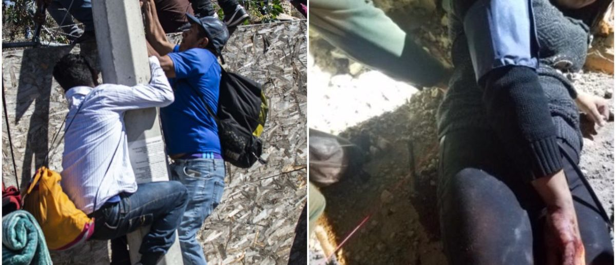 Left: Migrants scale border in Tijuana (PEDRO PARDO/AFP/Getty Images), Right: Woman impaled after climbing border wall (U.S. CBP)