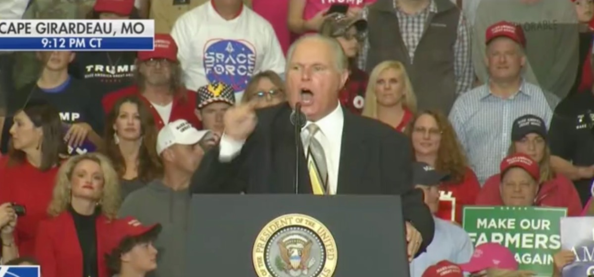 Rush Limbaugh Takes Stage At Trump Rally - Says 'Hillary Clinton Rigged The Election' [Screenshot/FOX News]