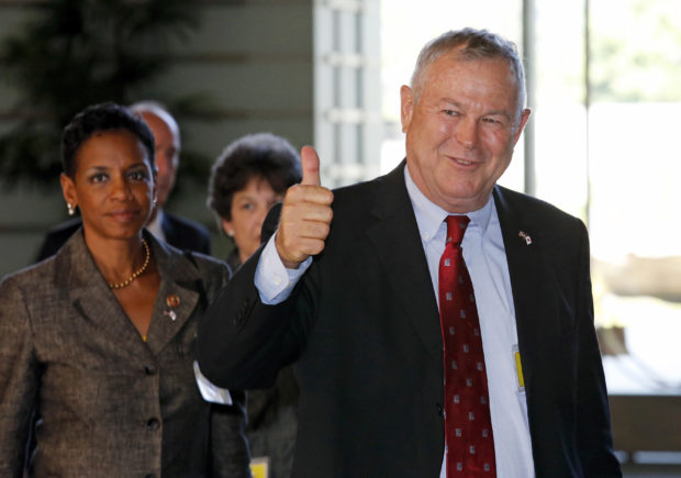 U.S. Representative Dana Rohrabacher (R-Ca) gestures as his U.S. Congressional delegation arrives to meet Japanese Prime Minister Shinzo Abe at the Prime Minister's official residence in Tokyo September 2, 2013. REUTERS/Shuji Kajiyama/Pool