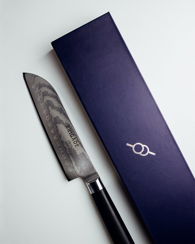 Normally $75, the Santoku knife is 15 percent off with the code (Photo via Brigade Kitchen)