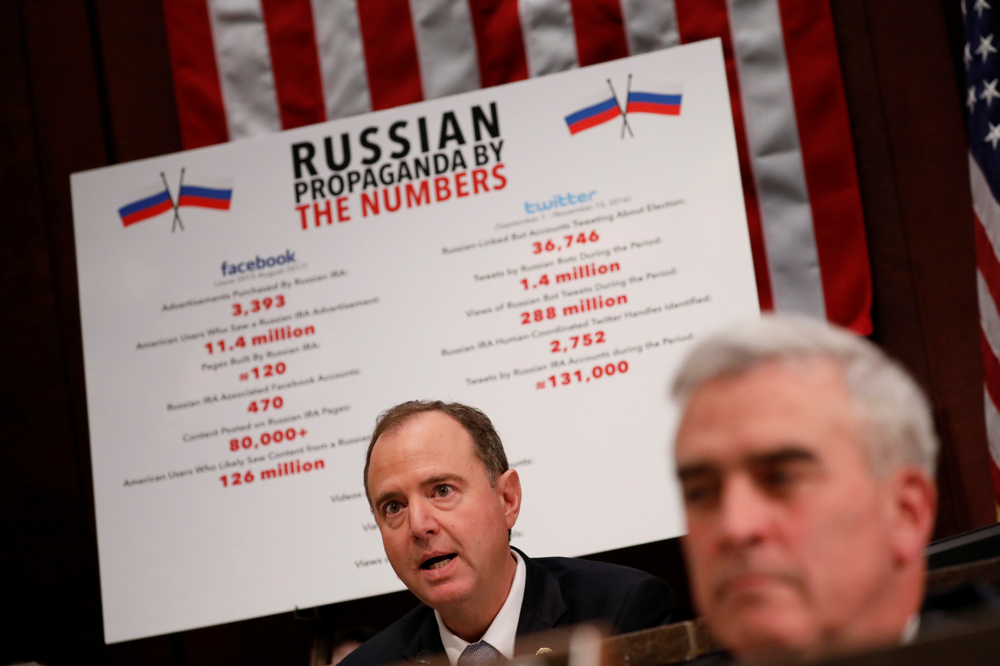 Rep. Adam Schiff (D-CA) asks questions, as executives appear before the House Intelligence Committee to answer questions related to Russian use of social media to influence U.S. elections, on Capitol Hill in Washington, U.S., November 1, 2017. REUTERS/Aaron P. Bernstein