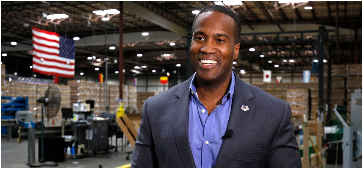 John James, Michigan GOP Senate candidate, does an interview with a news media outlet before holding an election night event at his business, James Group International, August 7, 2018 in Detroit, Michigan. The Michigan Primary election is being held today, and James, one of two Republican Senate candidates competing to see who will run against Democrat incumbent Sen. Debbie Stabenow, has President Donald Trump's endorsement. (Photo by Bill Pugliano/Getty Images)