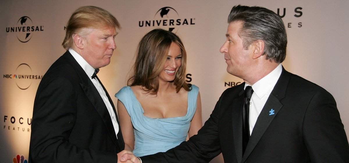 Real Estate tycoon Donald Trump, wife Melania Trump, and Actor Alec Baldwin (R) arrive at the NBC/Universal Golden Globe After Party held at the Beverly Hilton on January 15, 2007 in Beverly Hills, California. (Photo by Frazer Harrison/Getty Images)