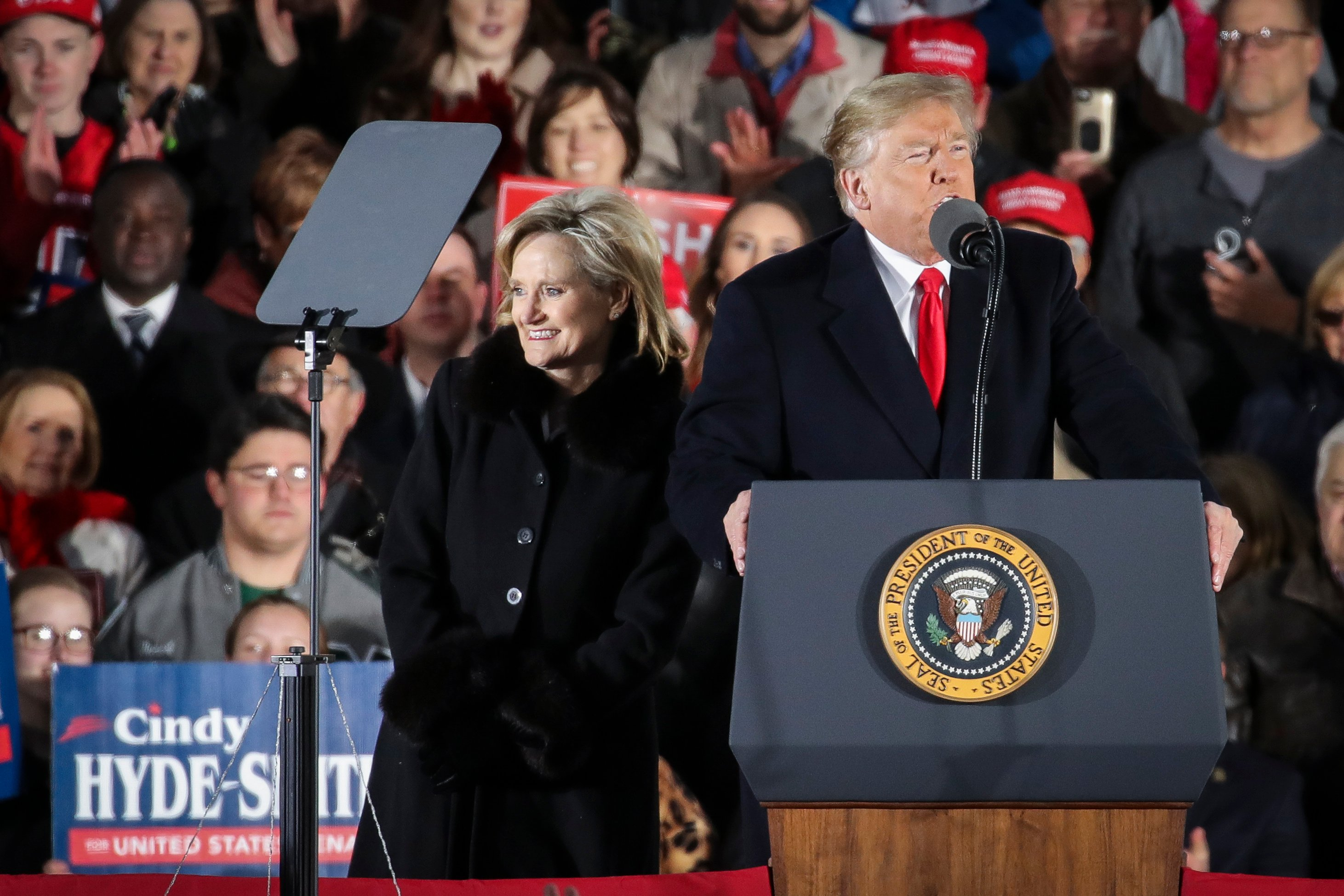 Republican candidate for U.S. Senate Cindy Hyde-Smith is introduced by President Donald Trump during a rally at the Tupelo Regional Airport, November 26, 2018 in Tupelo, Mississippi. (Drew Angerer/Getty Images)
