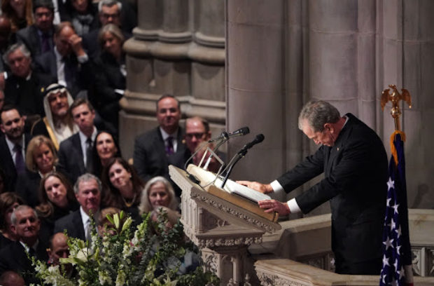 Former US President George W. Bush speaks during the funeral service for former US President George H. W. Bush at the National Cathedral in Washington, DC on December 5, 2018. (Photo by MANDEL NGAN/AFP/Getty Images)