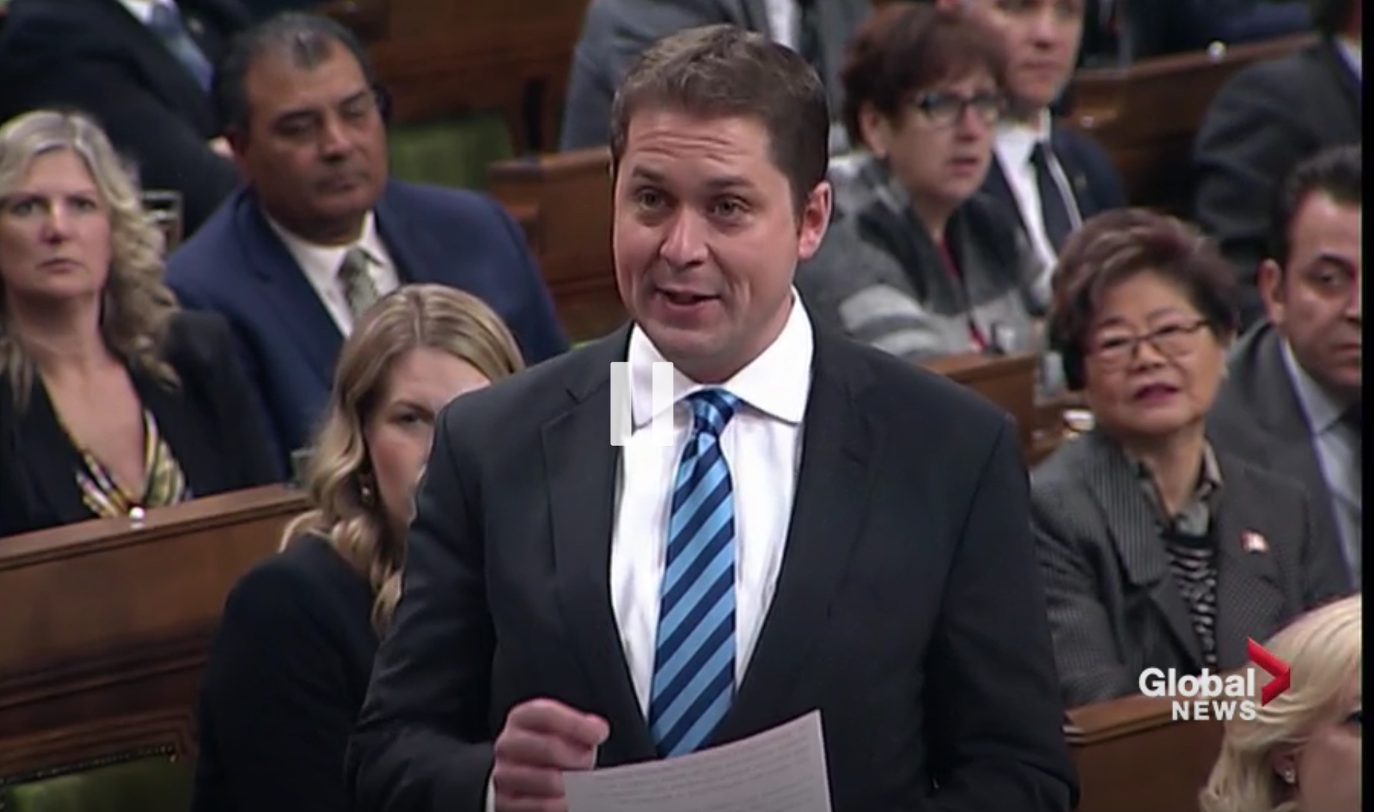 Conservative Leader Andrew Scheer asks questions in the House of Commons, Ottawa, Ont., Dec. 4, 2018. Global News screenshot
