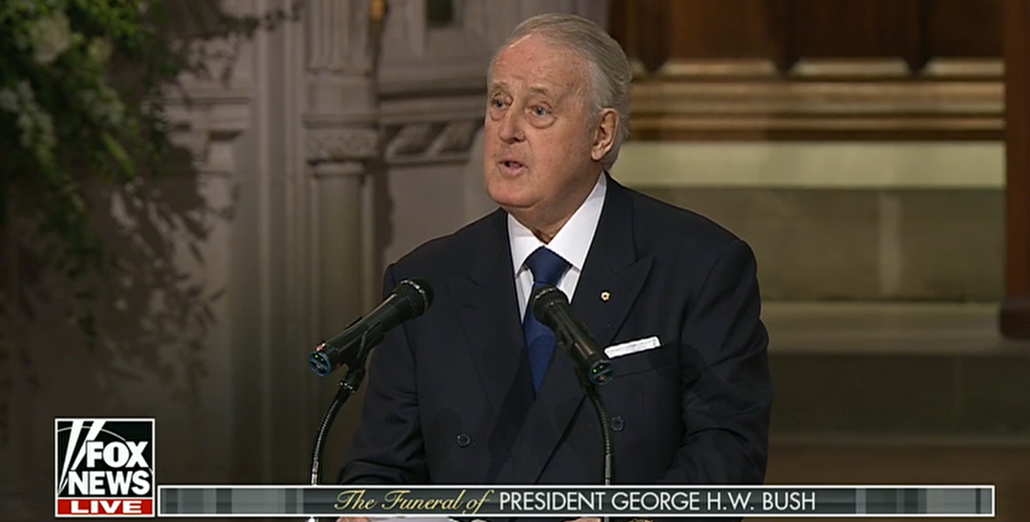 Former Canadian Prime Minister Brian Mulroney delivers a eulogy at the state funeral for George H.W. Bush, Dec. 5, 2018. Fox News screencapture