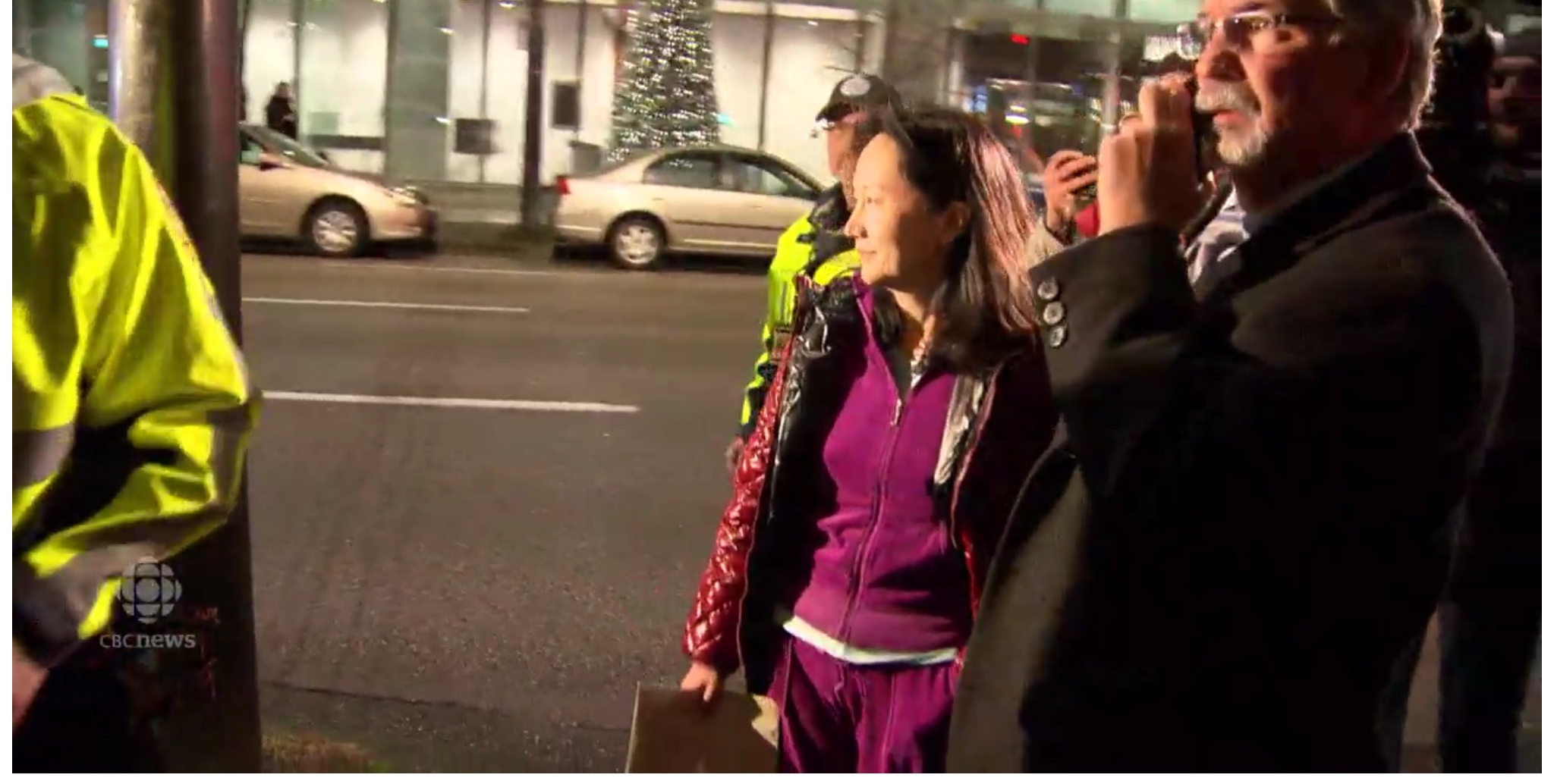 Huawei CFO Meng Wanzhou is led from a Vancouver, B.C. court after being granted $10 million bail. CBC News screenshot
