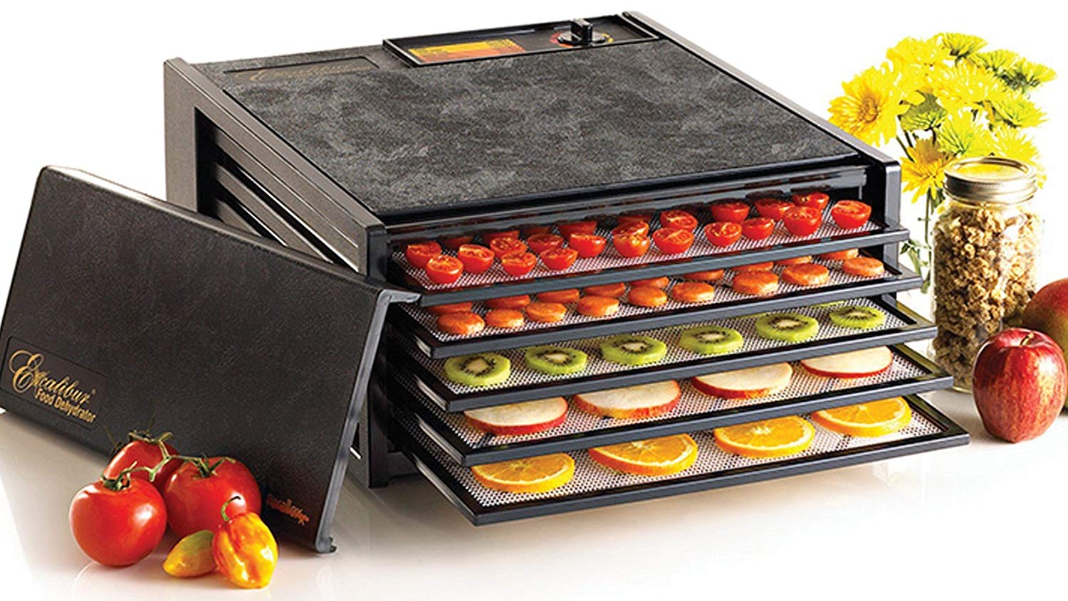 Save $60 and dehydrate fruits, vegetables, meat, and fish to your hearts content with this Excalibur Electric Food Dehydrator (Photo via Amazon)