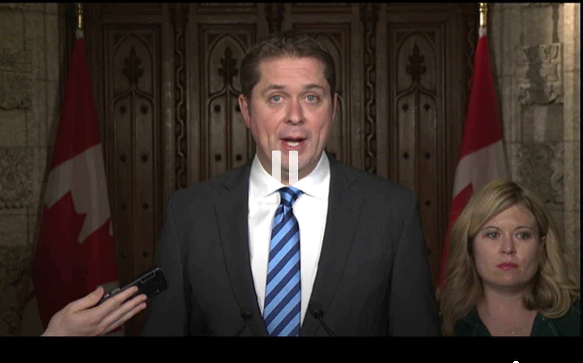 Conservative Party Leader Andrew Scheer holds a news conference in the foyer of the House of Commons, Ottawa, Ont., Dec. 4, 2018. Global News screenshot