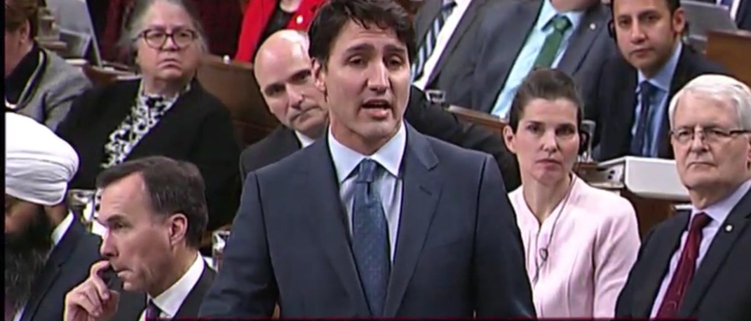 Canadian Prime Minister Justin Trudeau answers questions in the House of Commons, Ottawa, Ont., Dec. 4, 2018. Global News screenshot