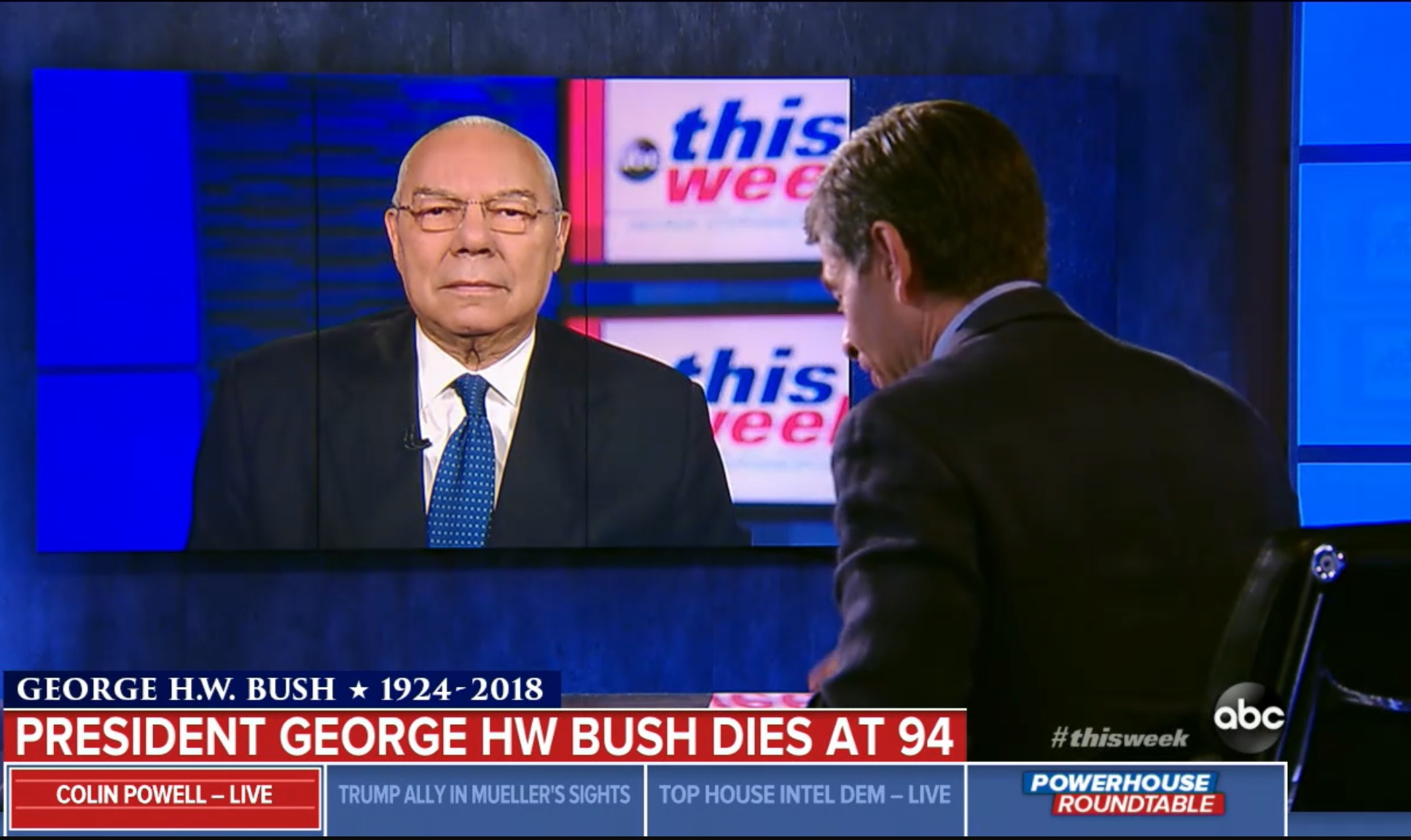 """Former Secretary of State Gen. Colin Powell is interviewed in ABC's """"This Week,"""" Dec. 2, 2018. ABC News screenshot."""