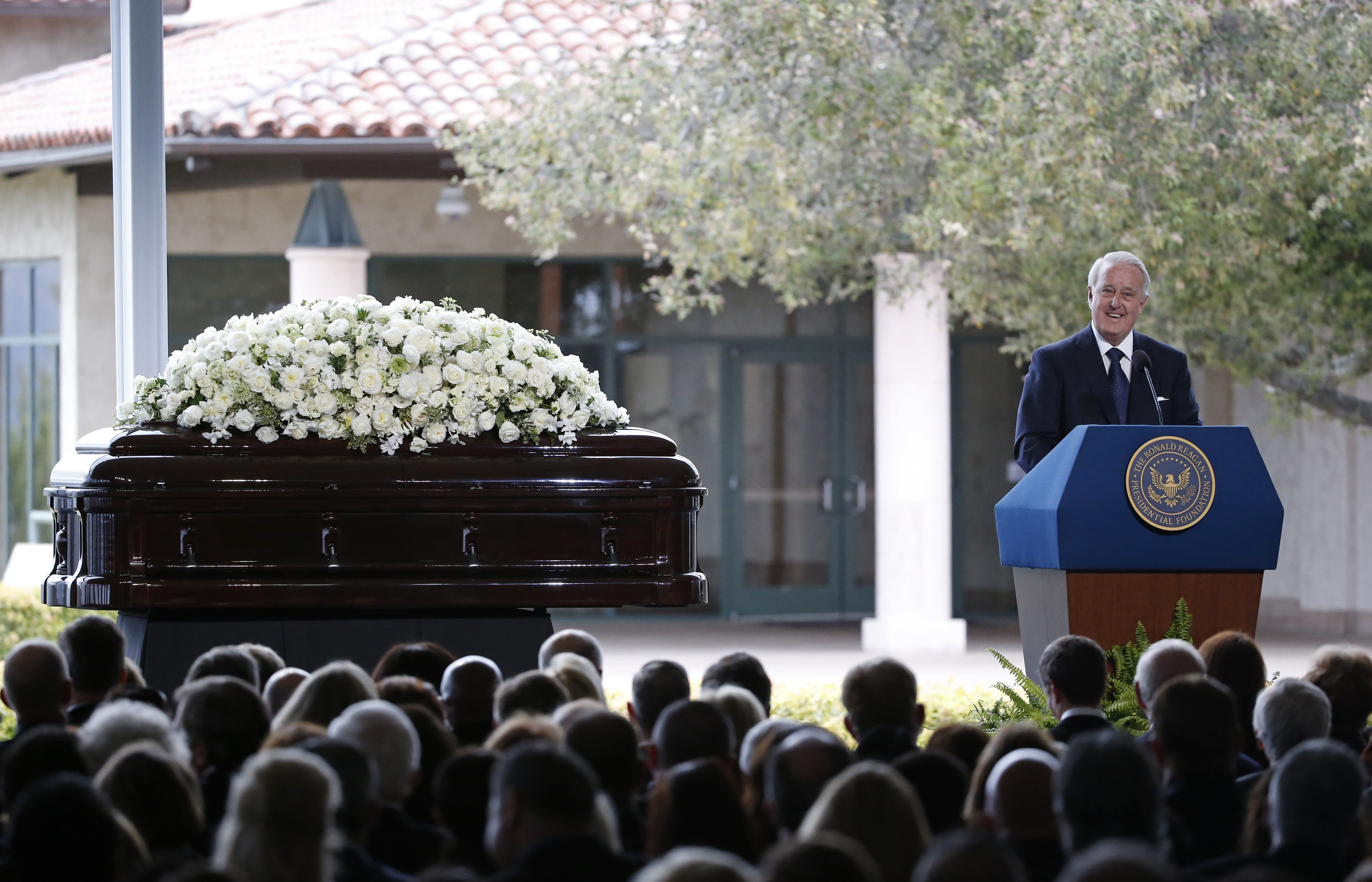 Former Prime Minister of Canada Brian Mulroney, who served while Ronald Reagan was president, speaks at the funeral of Nancy Reagan at the Ronald Reagan Presidential Library in Simi Valley, California, United States, March 11, 2016. REUTERS/Lucy Nicholson
