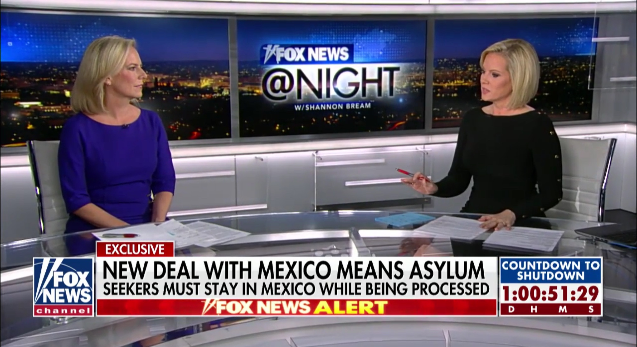 "DHS Secretary Kirstjen Nielsen speaks with Shannon Bream on ""Fox News@Night,"" Dec.20, 2018. Fox News screenshot."
