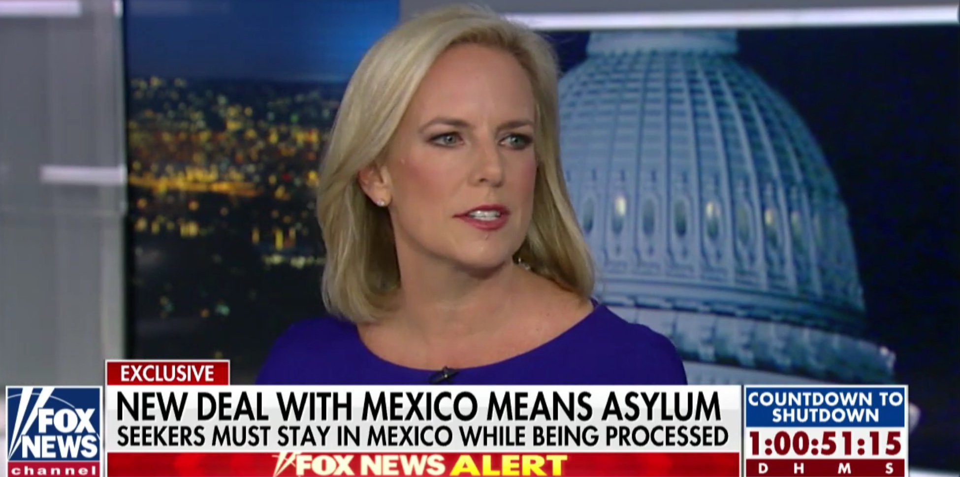 DHS Secretary Kirstjen Nielsen speaks to Fox News about refugee issues, Dec. 20, 2018. Fox News screenshot.