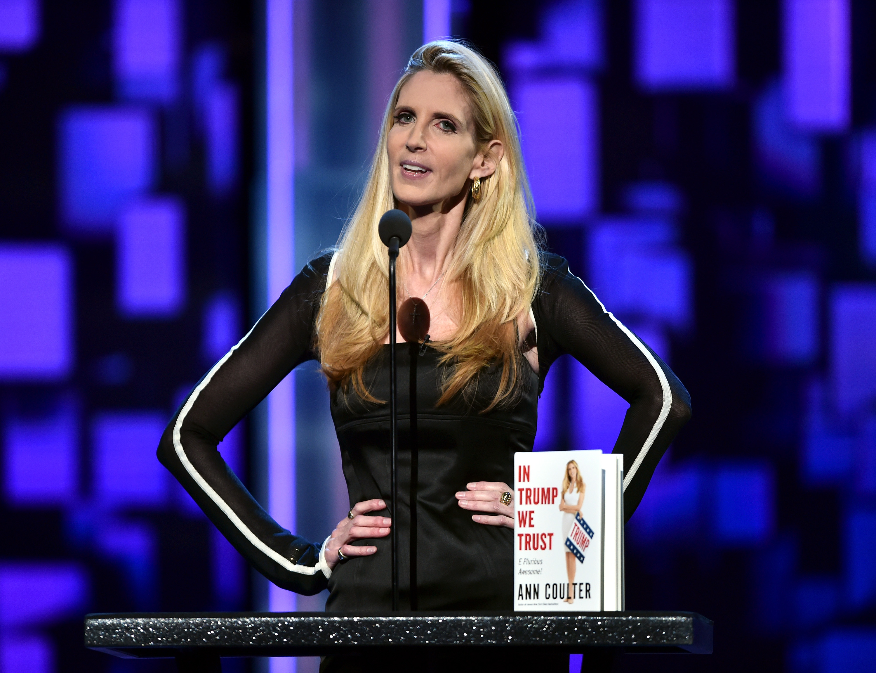 LOS ANGELES, CA - AUGUST 27: Political commentator/author Ann Coulter speaks onstage at The Comedy Central Roast of Rob Lowe at Sony Studios on August 27, 2016 in Los Angeles, California. Getty Images/ Alberto E. Rodriguez