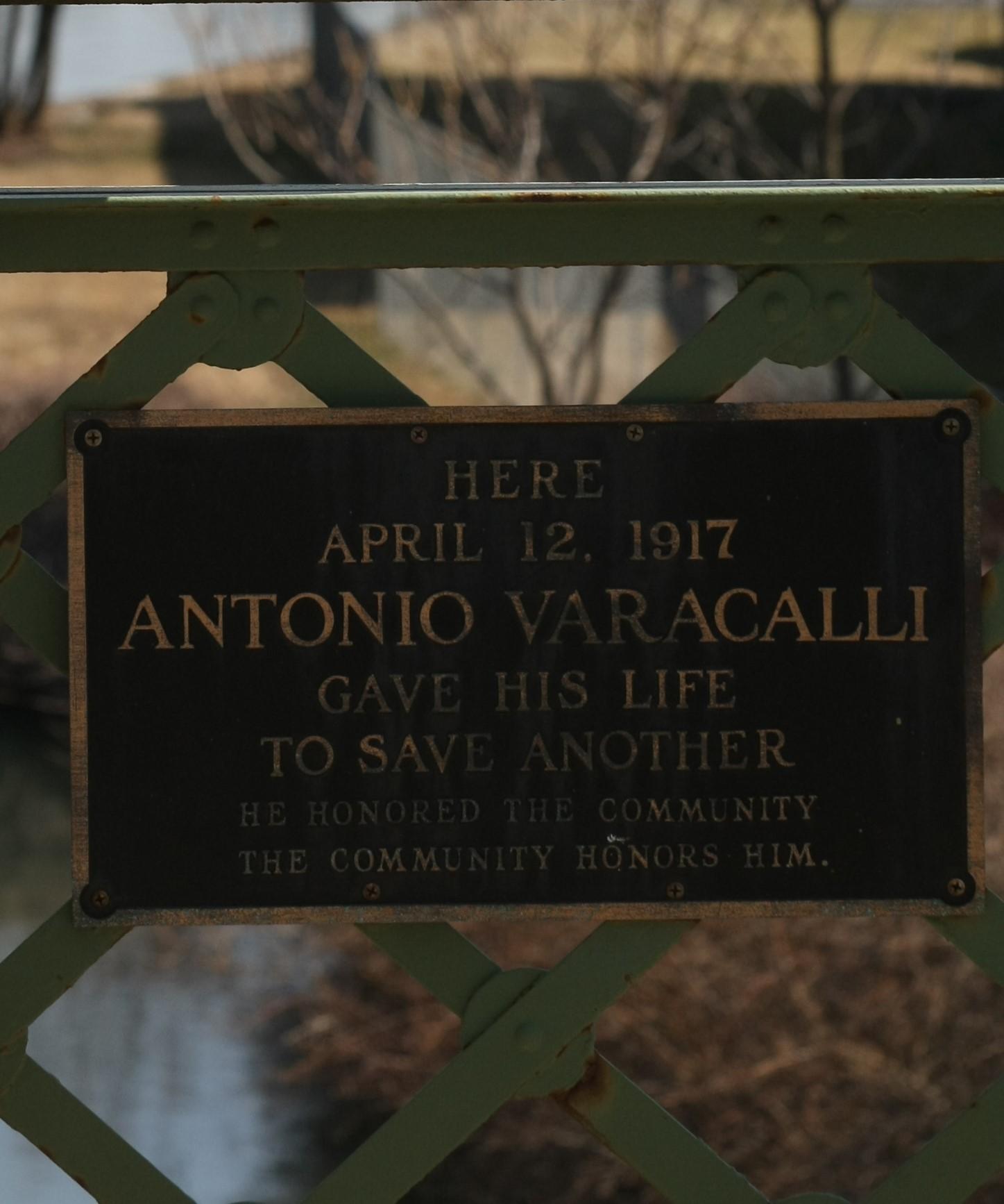 Antonio Varacalli's plaque on the Bridge St. bridge in Seneca Falls, NY. Courtesy of Spencer Tulis