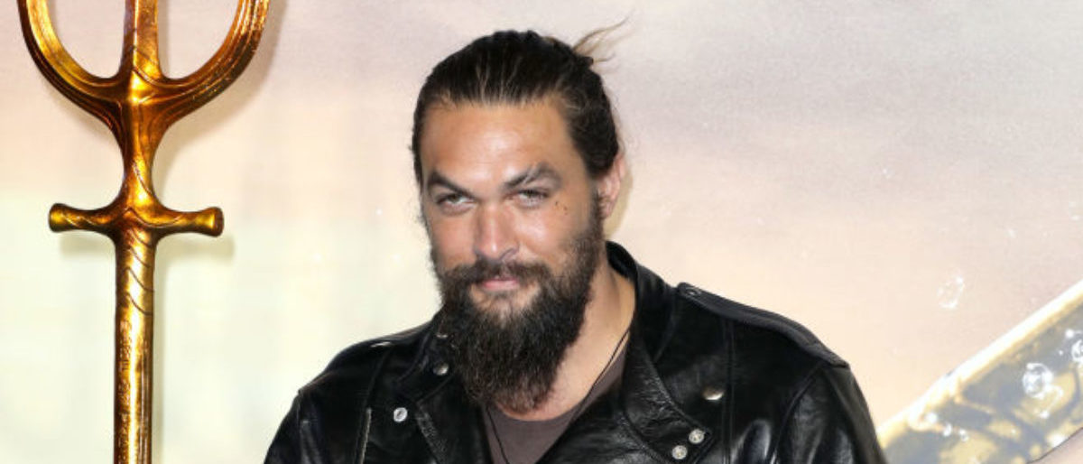 """LONDON, ENGLAND - NOVEMBER 26: Jason Momoa attends the """"Aquaman"""" world premiere at Cineworld Leicester Square on November 26, 2018 in London, England. (Photo by Tristan Fewings/Getty Images)"""