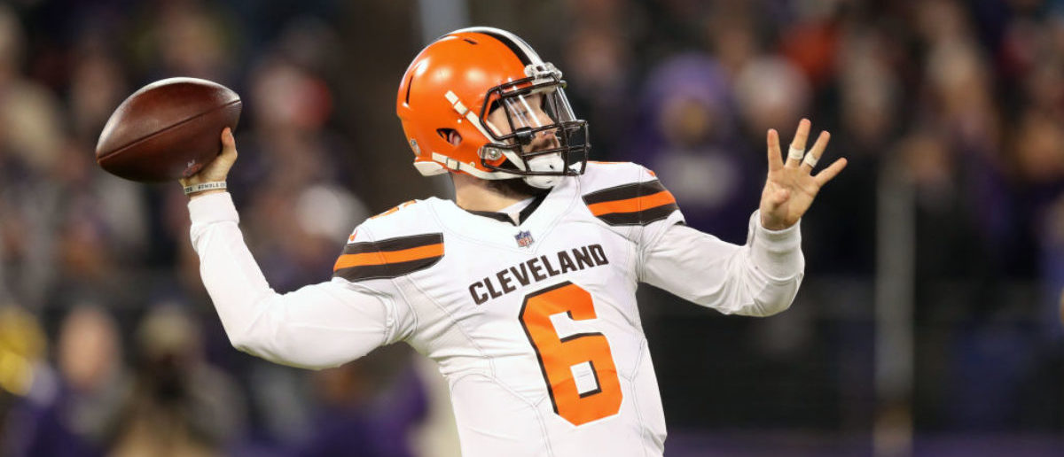 BALTIMORE, MARYLAND - DECEMBER 30: Quarterback Baker Mayfield #6 of the Cleveland Browns throws the ball in the third quarter against the Baltimore Ravens at M&T Bank Stadium on December 30, 2018 in Baltimore, Maryland. (Photo by Rob Carr/Getty Images)