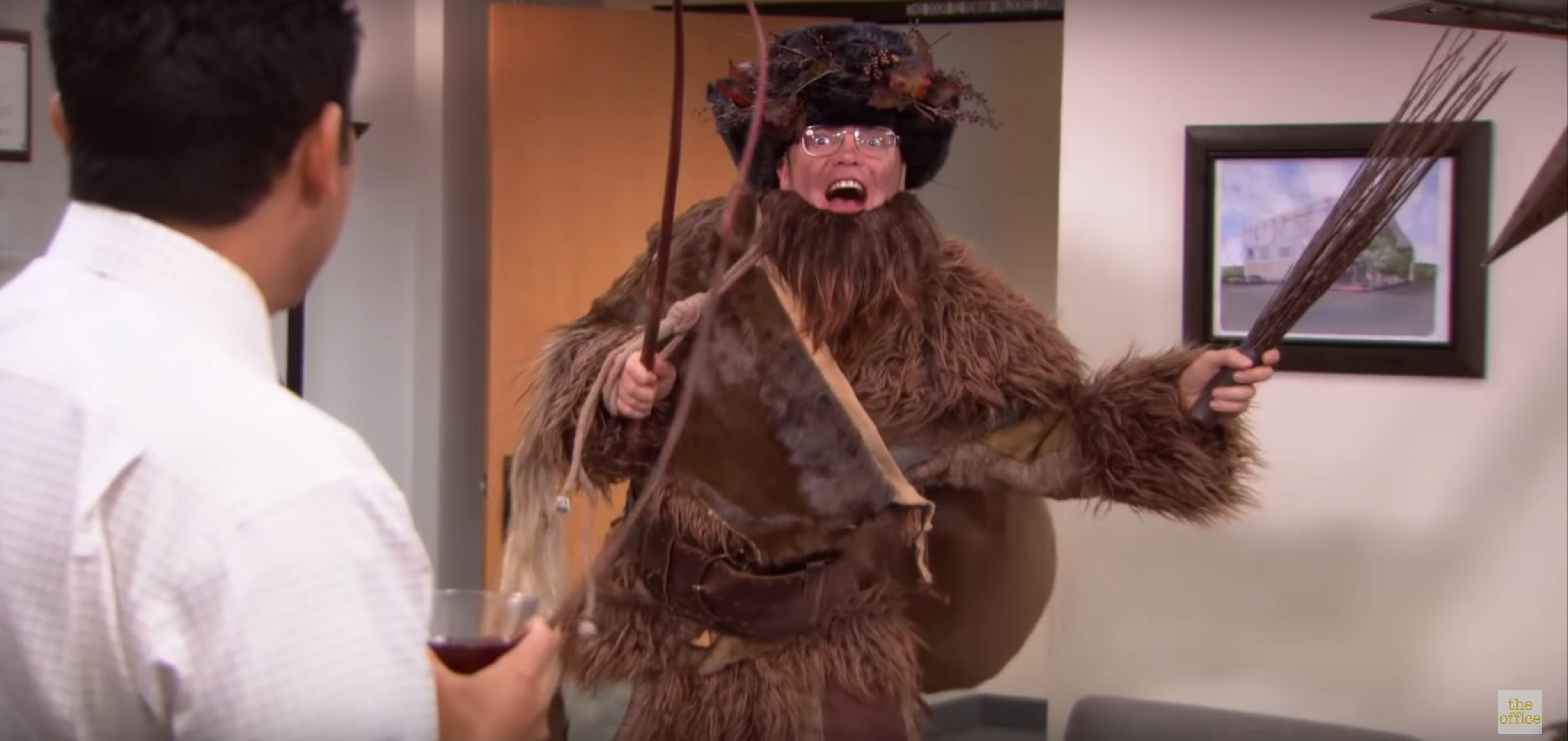 Dwight Schrute, played by Rainn Wilson, dressed as the Belsnickel in the hit television show The Office (YouTube screenshot/ The Office US)