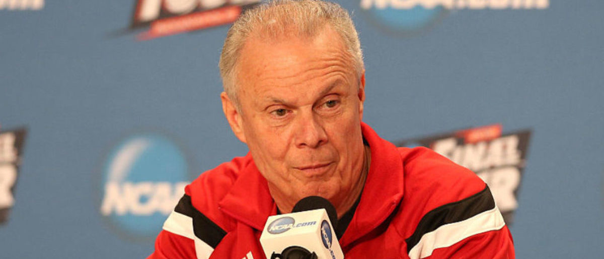 INDIANAPOLIS, IN - APRIL 02: Head coach Bo Ryan of the Wisconsin Badgers addresses the media during a press conference before the 2015 NCAA Men's Final Four at Lucas Oil Stadium on April 2, 2015 in Indianapolis, Indiana. Wisconsin plays Kentucky on Saturday, April 4th. (Photo by Streeter Lecka/Getty Images)