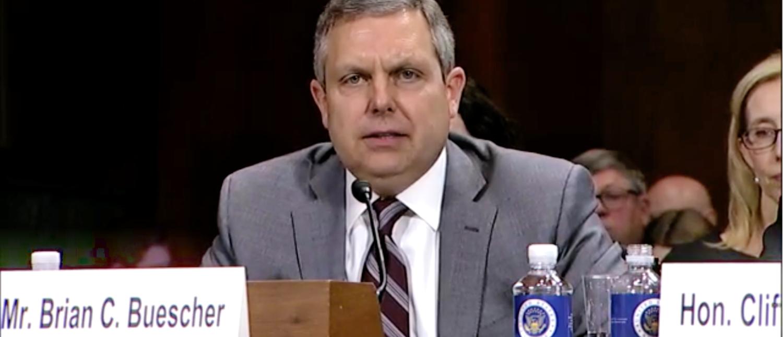 Brian Buescher addresses the Senate Judiciary Committee on Nov. 28, 2018. (Screenshot/Senate Judiciary Committee)