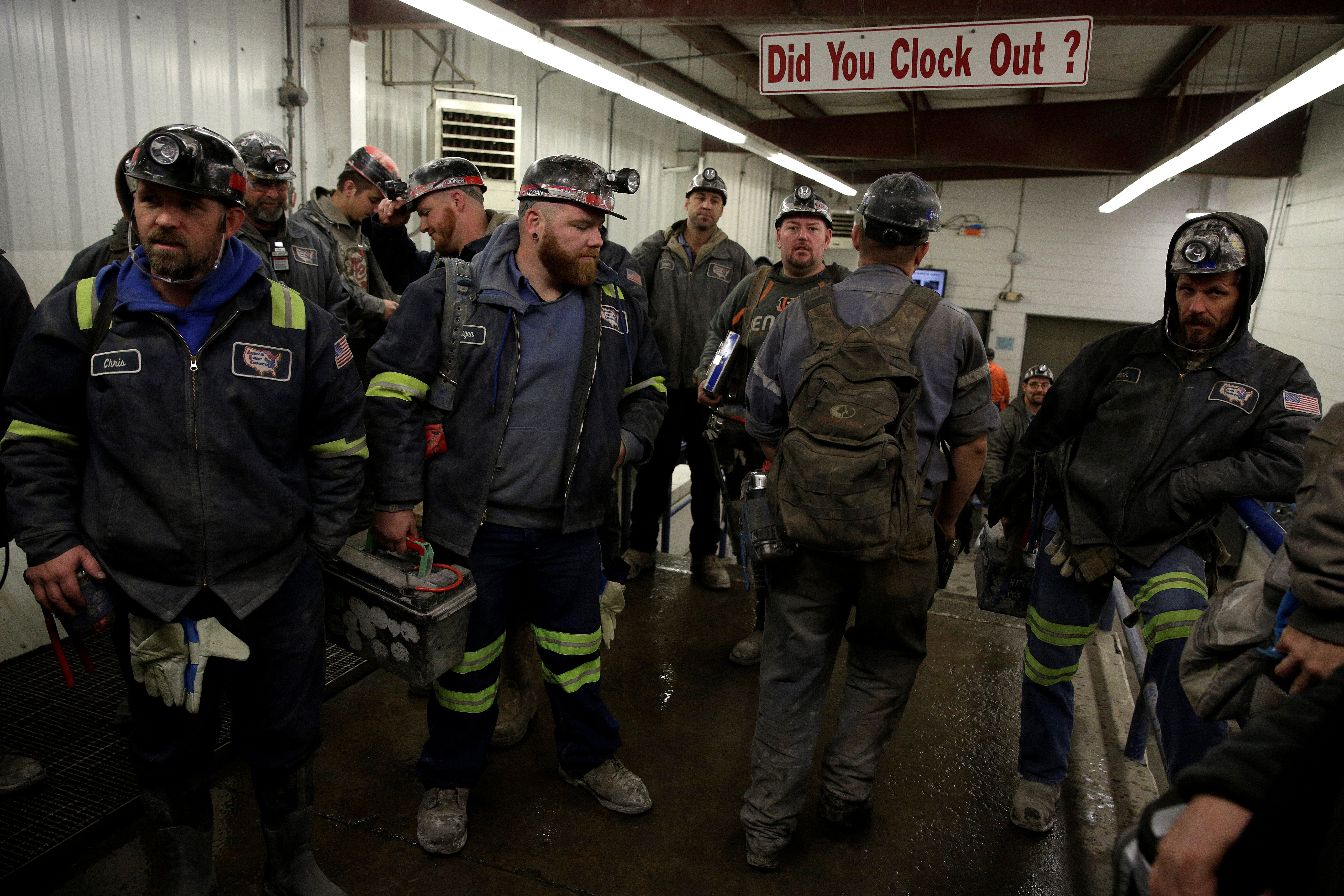 Miners arrives for the start of their shift at the American Energy Corporation Century Mine in Beallsville, Ohio.