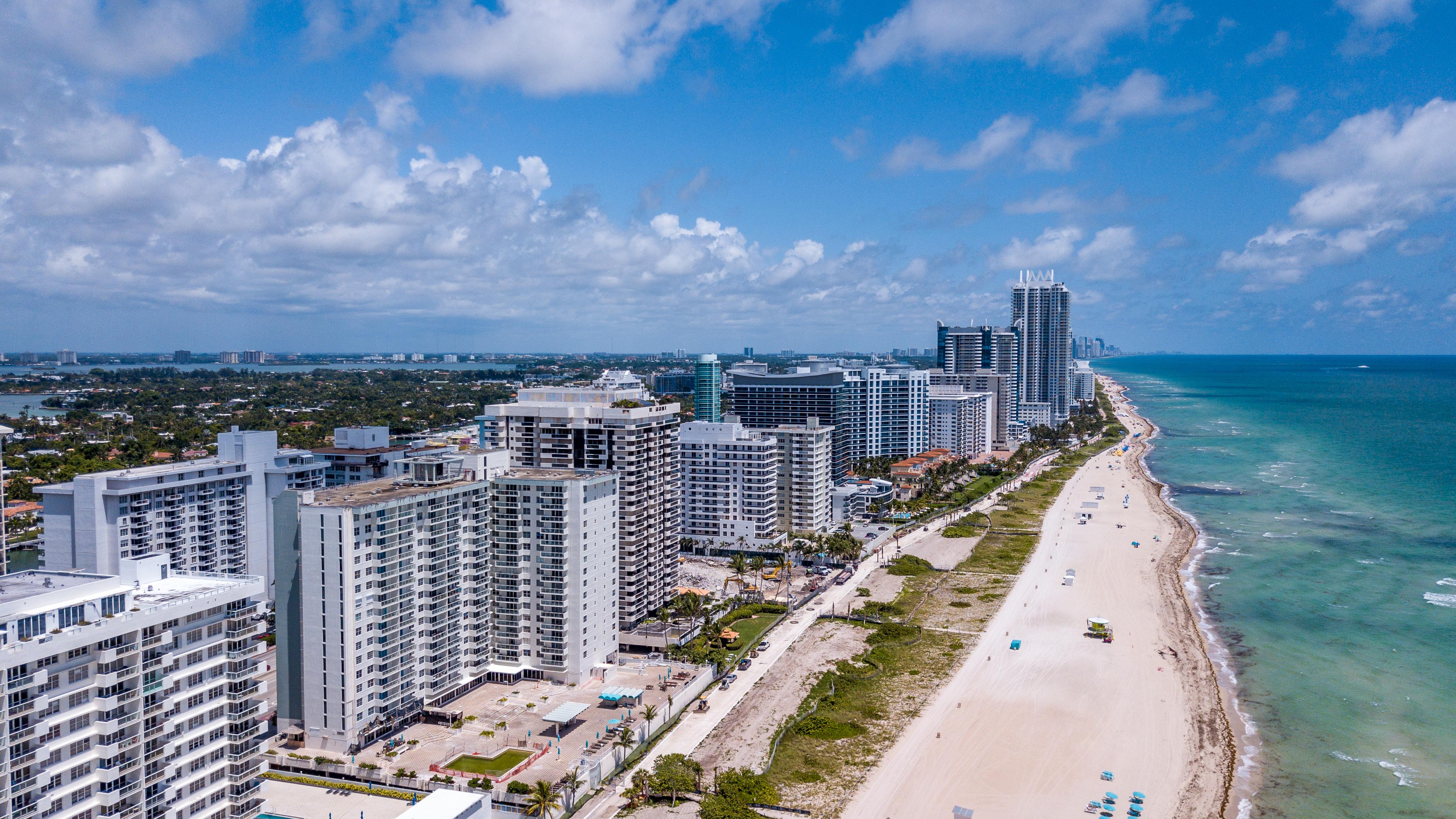 High aerial of the Miami Beach Coast. (Shutterstock/South Florida Aerials)