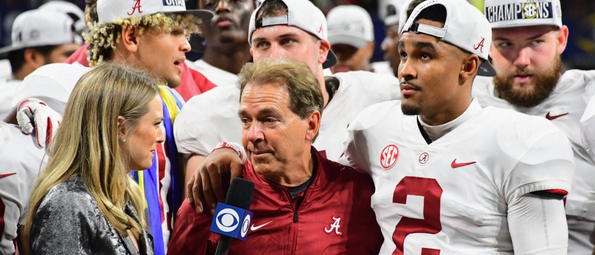 ATLANTA, GA - DECEMBER 01: Head coach Nick Saban of the Alabama Crimson Tide is interviewed after defeating the Georgia Bulldogs 35-28 in the 2018 SEC Championship Game at Mercedes-Benz Stadium on December 1, 2018 in Atlanta, Georgia. (Photo by Scott Cunningham/Getty Images)