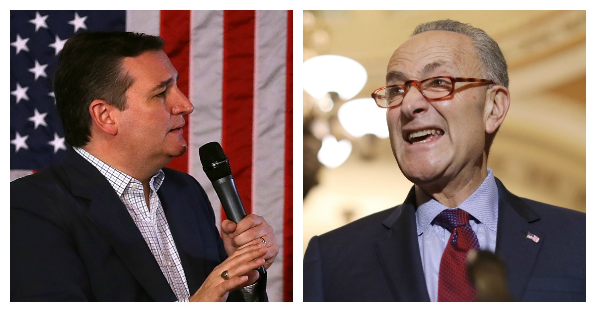 LEFT: U.S. Sen. Ted Cruz speaks during a Get Out The Vote Bus Tour rally on Nov. 5, 2018 in Atascocita, Texas. (Justin Sullivan/Getty Images) RIGHT: Senate Minority Leader Charles Schumer talks to reporters with Sen. Cory Booker and Sen. Richard Durbin following the weekly Senate Democratic policy luncheon at the U.S. Capitol Oct. 2, 2018 in Washington, D.C. (Chip Somodevilla/Getty Images)