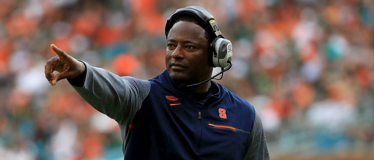 MIAMI GARDENS, FL - OCTOBER 21: Head coach Dino Babers of the Syracuse Orange looks on during a game against the Miami Hurricanes at Sun Life Stadium on October 21, 2017 in Miami Gardens, Florida. (Photo by Mike Ehrmann/Getty Images)