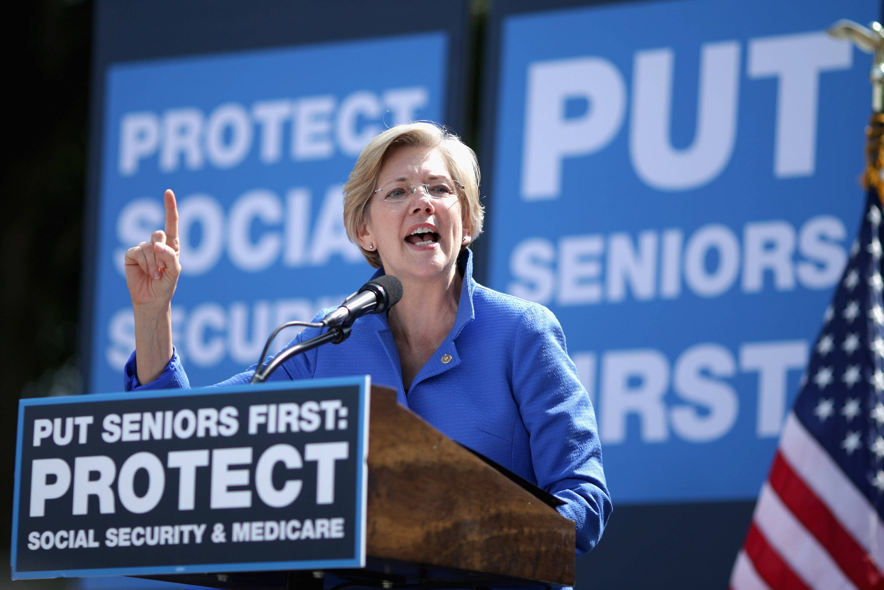 Sen. Elizabeth Warren addresses a rally in support of Social Security and Medicare on Capitol Hill September 18, 2014 in Washington, DC. (Chip Somodevilla/Getty Images)