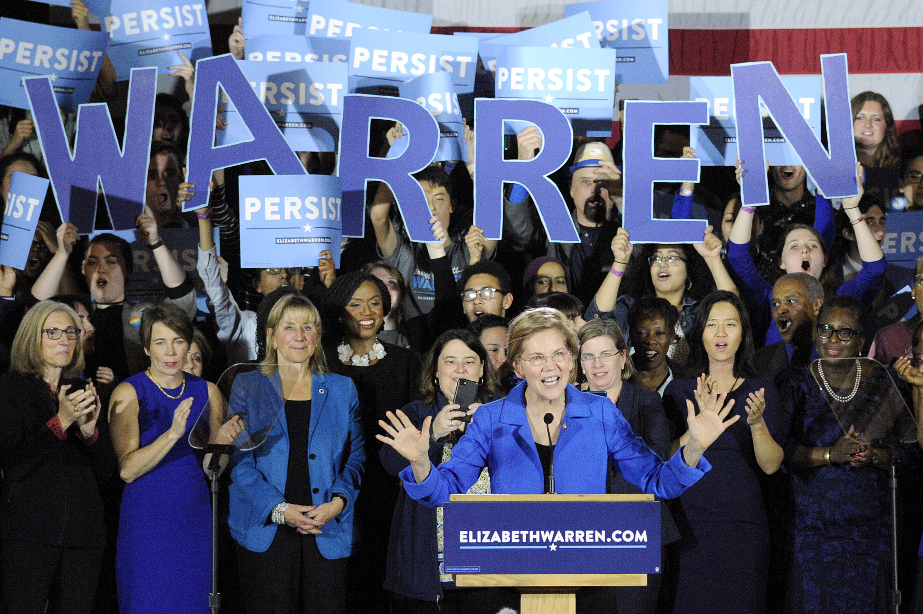 US Senator Elizabeth Warren addresses the audience during the Election Day Massachusetts Democratic Coordinated Campaign Election Night Celebration at the Fairmont Copley Hotel November 6, 2018. (Joseph Prezioso/AFP/Getty Images)