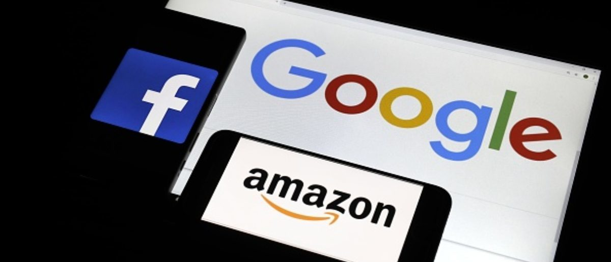 File photo shows tech giants' logos: (clockwise from top R) Google LLC, Amazon.com Inc. and Facebook Inc. (Kyodo)