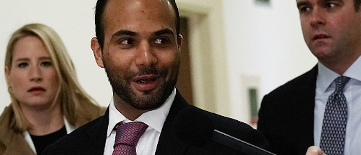 Former Trump campaign adviser George Papadopoulos (C) arrives at a closed-door hearing before the House Judiciary and Oversight Committee Oct. 25, 2018 at Rayburn House Office Building on Capitol in Washington, D.C. (Photo by Alex Wong/Getty Images)