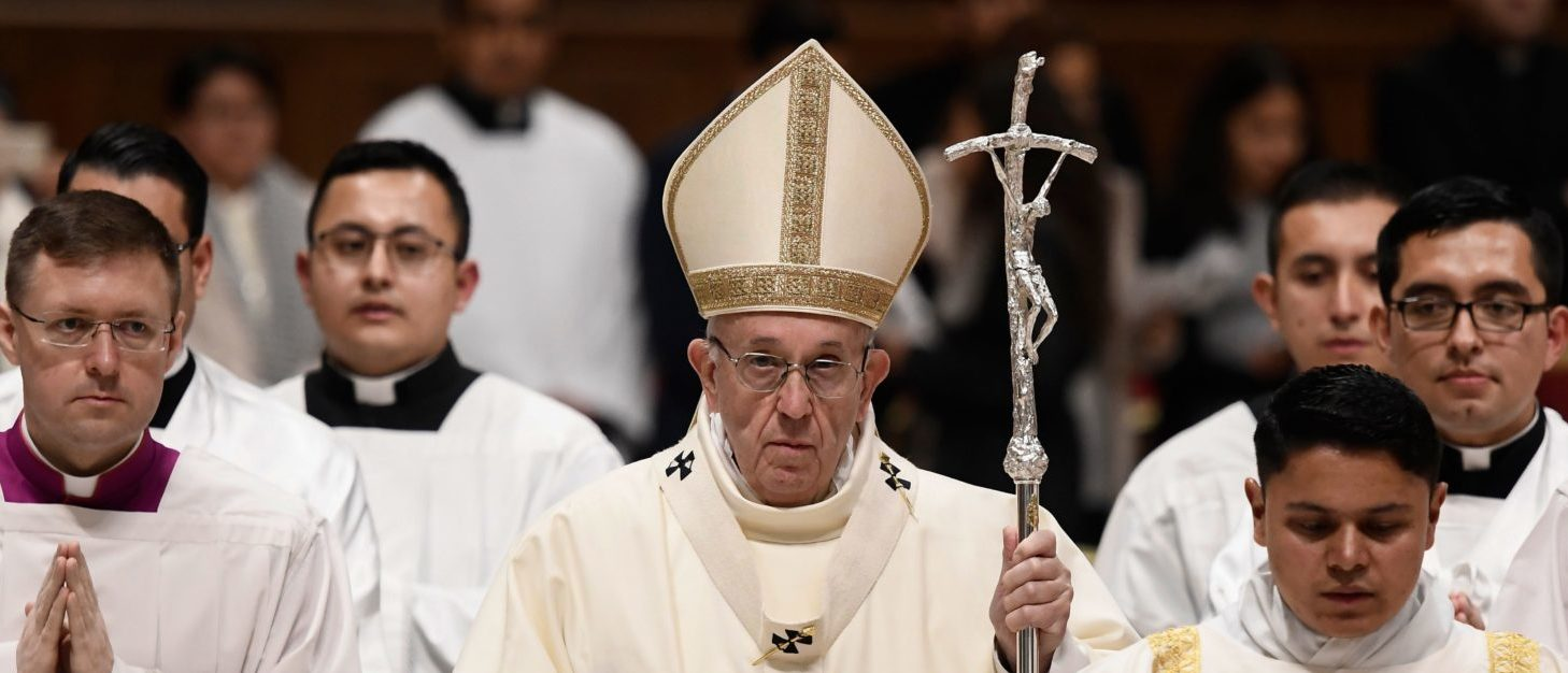 Pope Francis looks on as he celebrates a mass for the Virgin of Guadalupe (Our Lady of Guadalupe) in St. Peters Basilica on December 12, 2018 at the Vatican. (FILIPPO MONTEFORTE/AFP/Getty Images)