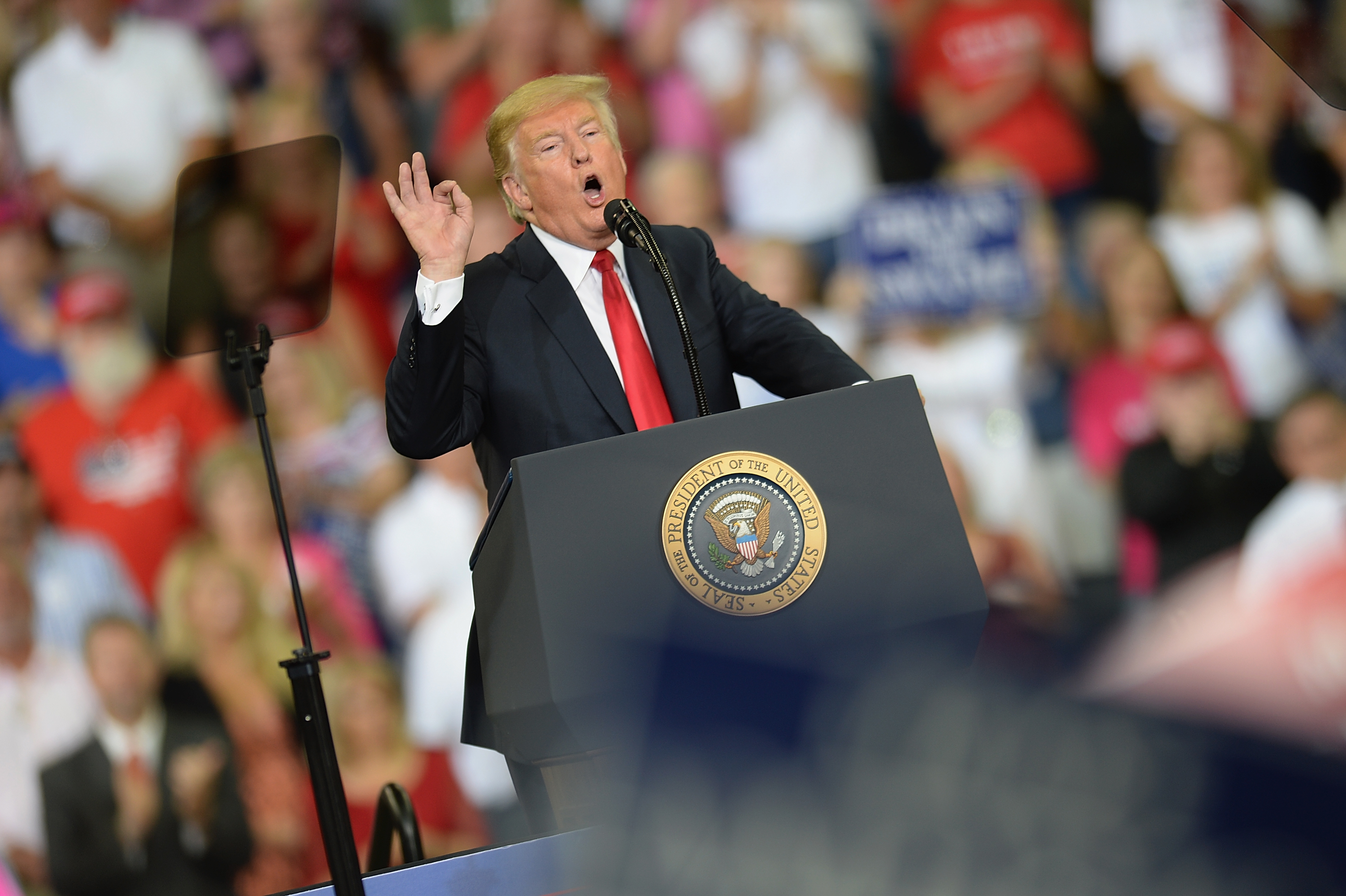 EVANSVILLE, IN - AUGUST 30: U.S. President Donald Trump delivers remarks at a campaign rally at the Ford Center on August 30, 2018 in Evansville, Indiana. The president was in town to support Republican Senate candidate Mike Braun, who is facing Sen. Joe Donnelly (D-IN) in November. (Photo by Michael B. Thomas/Getty Images)