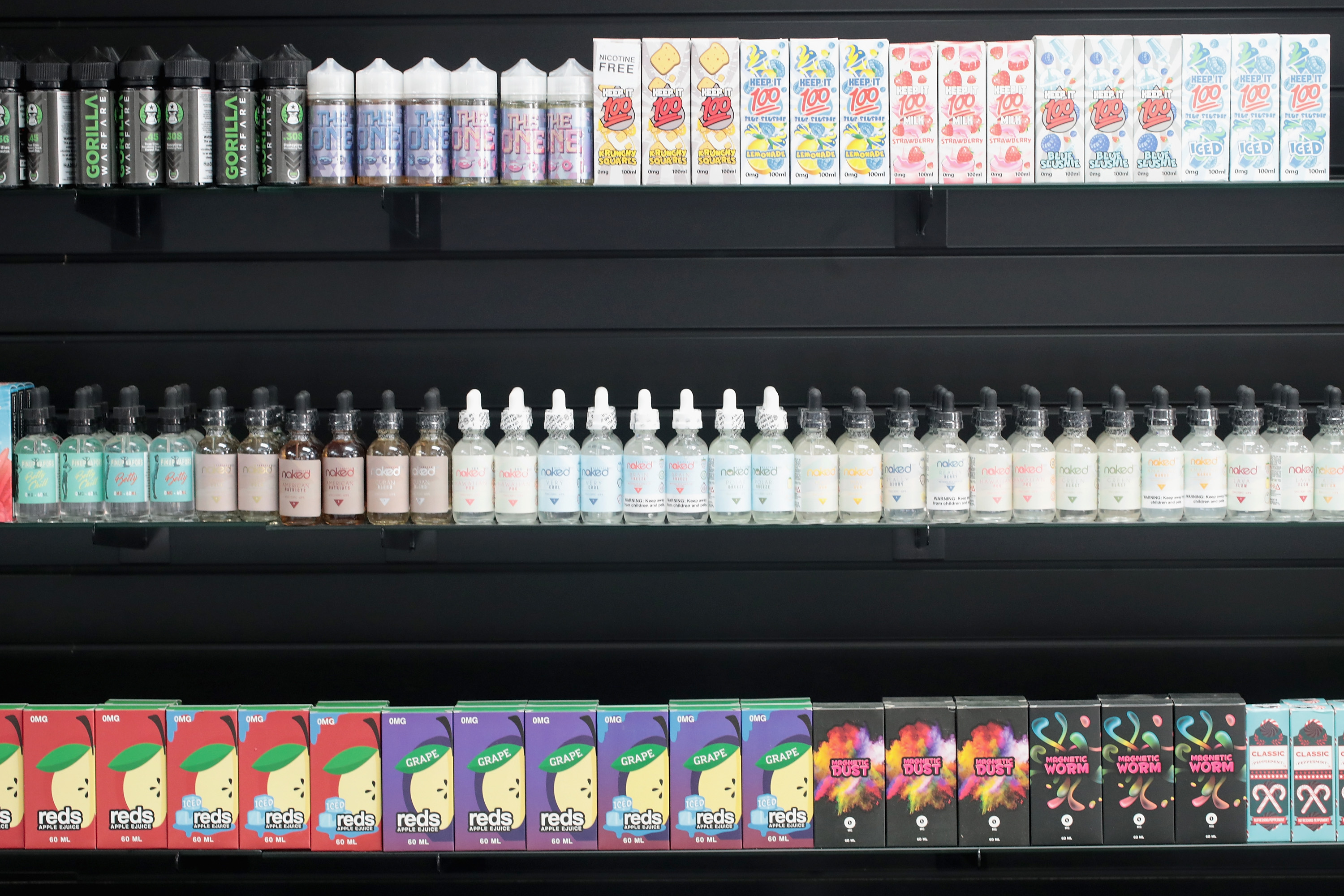 E-Liquids, which are used for vaping in electronic cigarettes, are offered for sale at the Smoke Depot on September 13, 2018 in Chicago, Illinois. (Photo by Scott Olson/Getty Images)