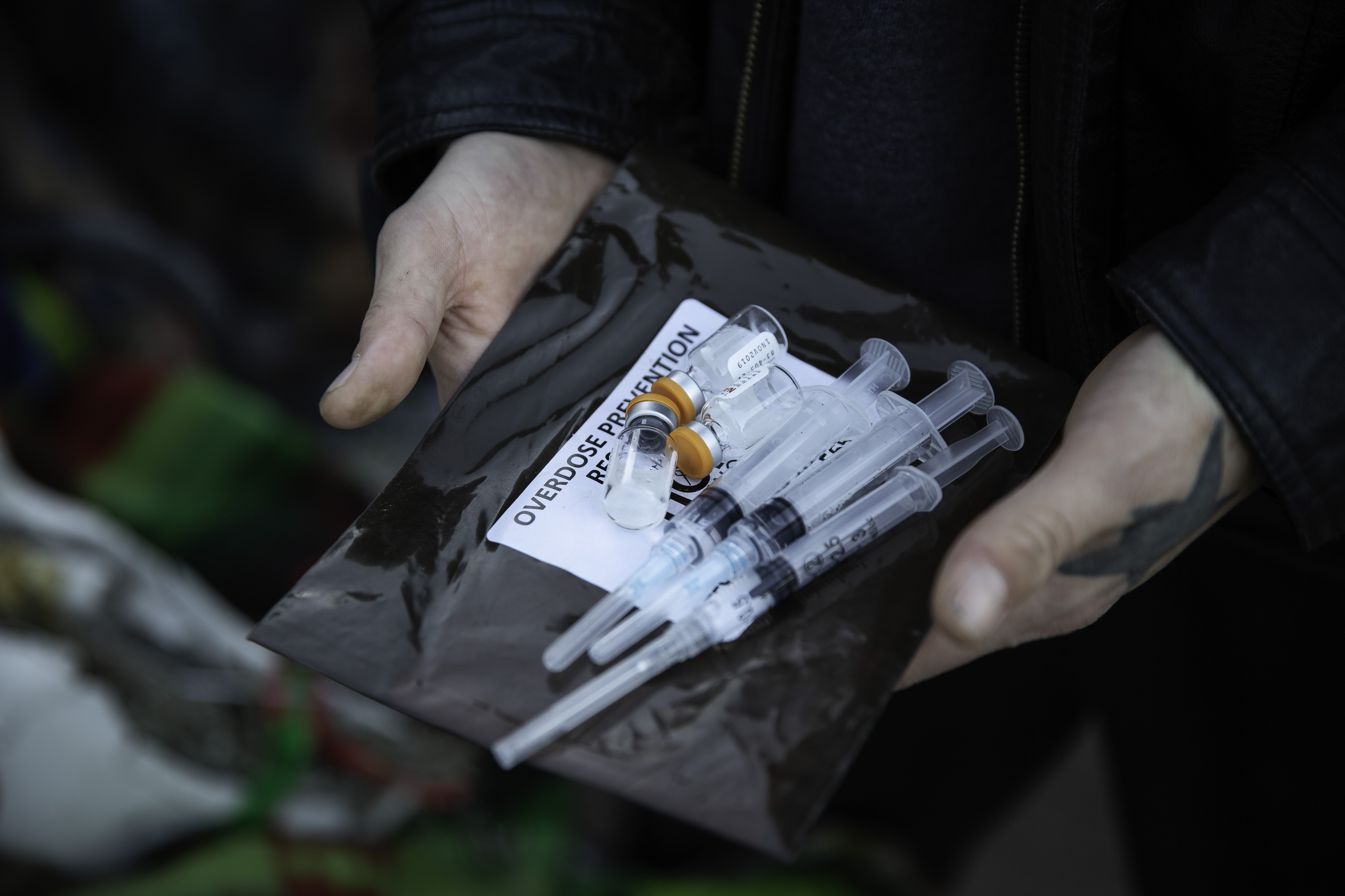 Narcan kits are available at a homeless encampment in Minneapolis, Minnesota on October 22, 2018. (KEREM YUCEL/AFP/Getty Images)