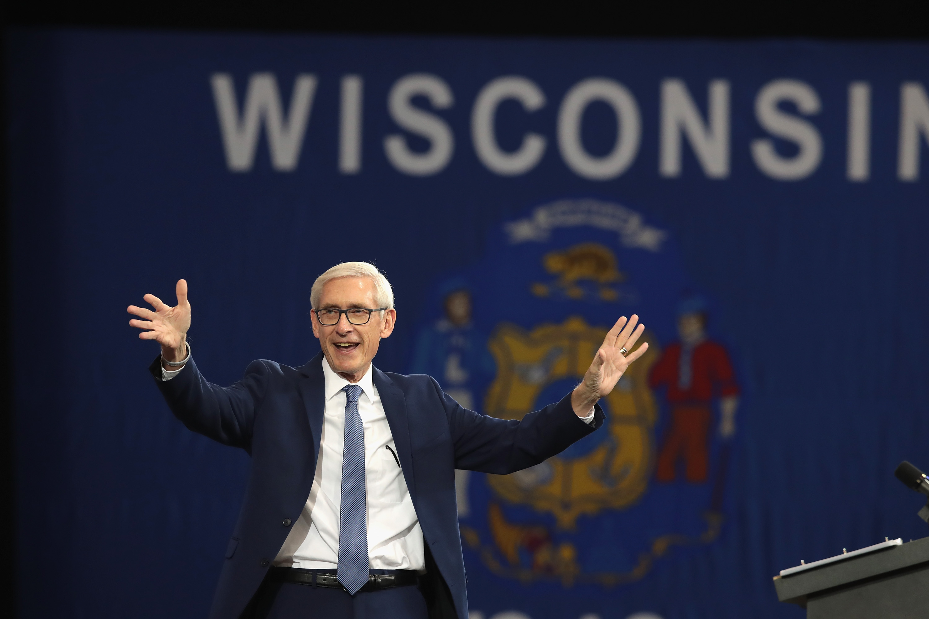 Tony Evers, Democratic candidate for governor of Wisconsin, speaks at a rally in support of Wisconsin Democrats at North Division High School on October 26, 2018 in Milwaukee, Wisconsin. (Photo by Scott Olson/Getty Images)