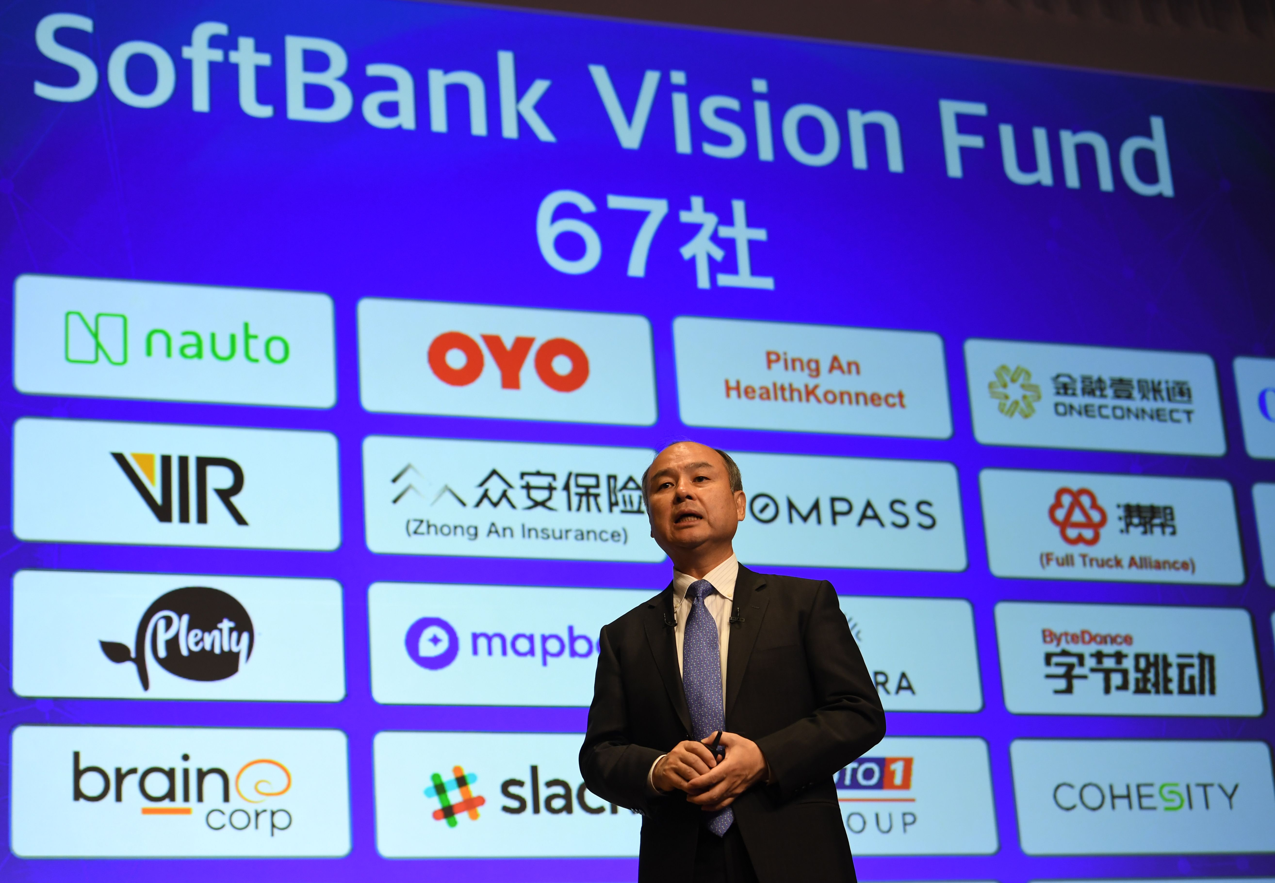 Softbank group CEO Masayoshi Son delivers a speech during his company's financial results press conference at a hotel in Tokyo on November 5, 2018. (TOSHIFUMI KITAMURA/AFP/Getty Images)