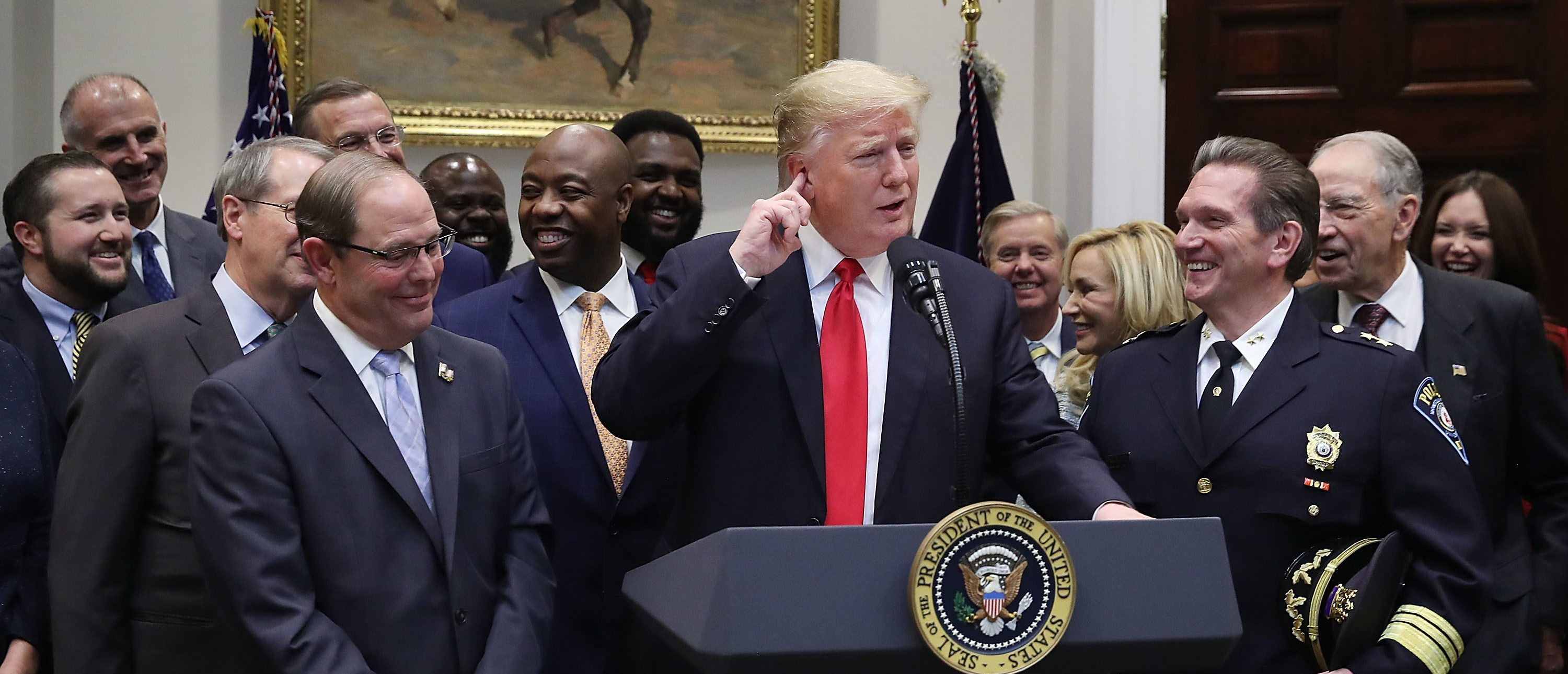 "WASHINGTON, DC - NOVEMBER 14: U.S. President Donald Trump makes an announcement regarding the ""First Step Act"", prison reform bill, in the Roosevelt Room at the White House on November 14, 2018 in Washington, DC. (Photo by Mark Wilson/Getty Images)"