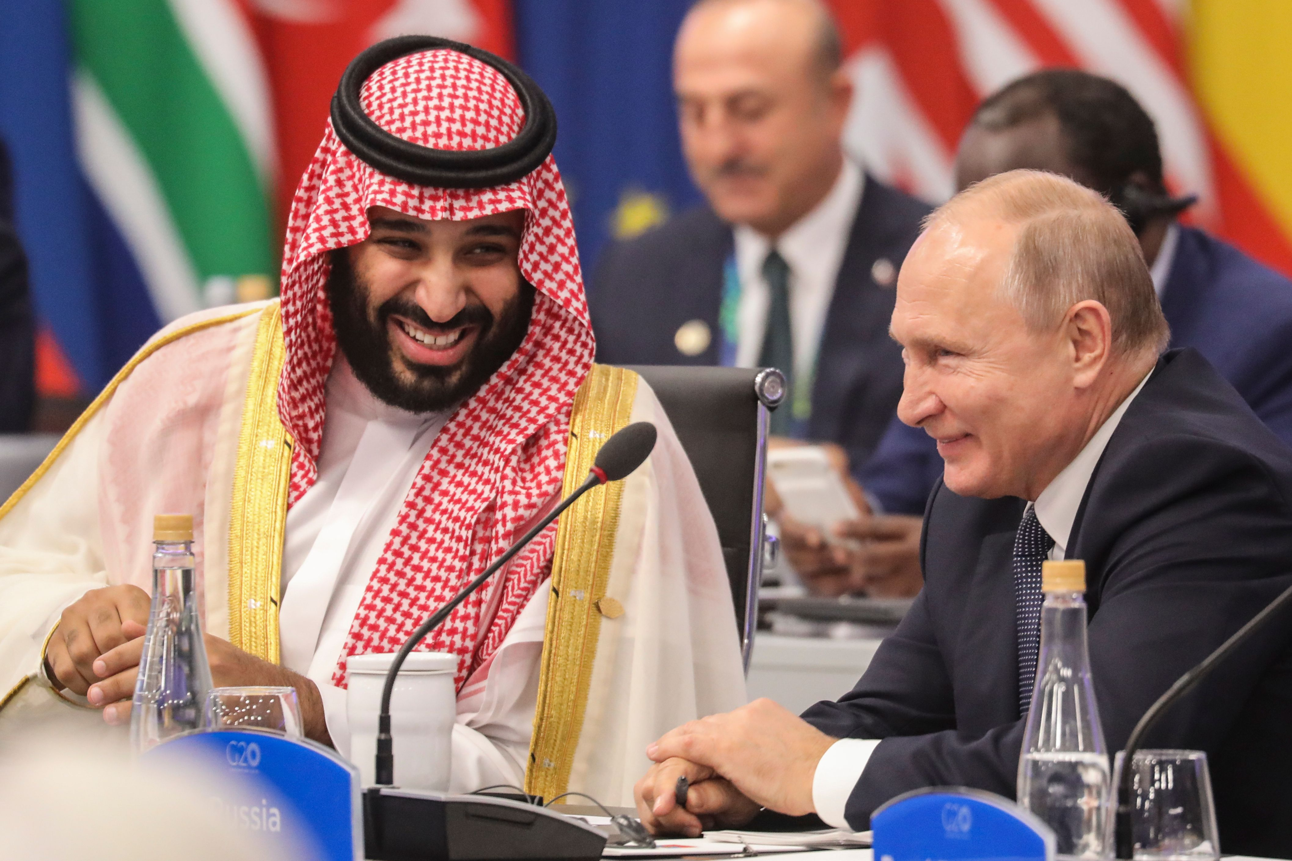 Russia's President Vladimir Putin (R) and Saudi Arabia's Crown Prince Mohammed bin Salman attend the G20 Leaders' Summit in Buenos Aires, on November 30, 2018. (LUDOVIC MARIN/AFP/Getty Images)