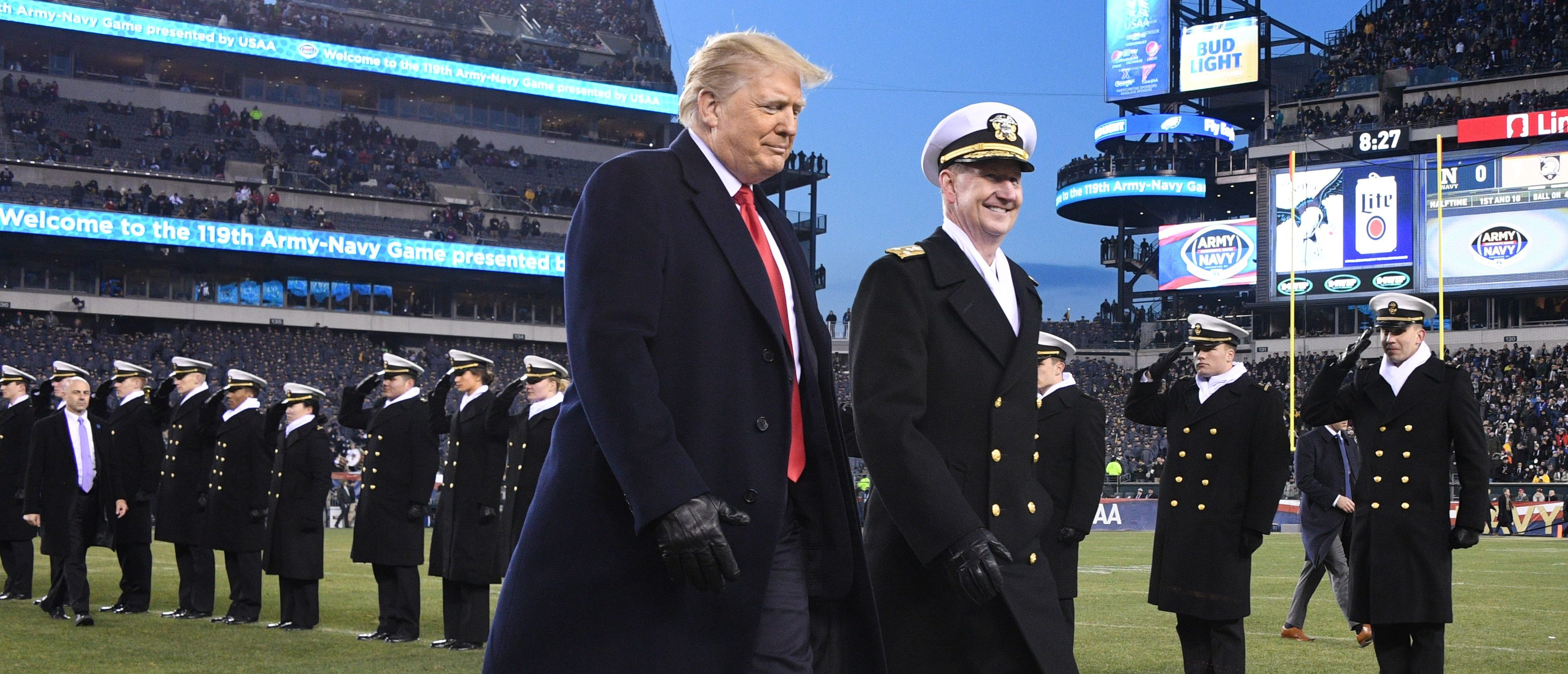 US President Donald Trump attends the annual Army-Navy football game at Lincoln Financial Field in Philadelphia, Pennsylvania, December 8, 2018. - Trump officiated the coin toss at Lincoln Financial Field in Philadelphia between the Army Black Knights of the US Military Academy (USMA) and the Navy Midshipmen of the US Naval Academy (USNA). (Photo by Jim WATSON / AFP)
