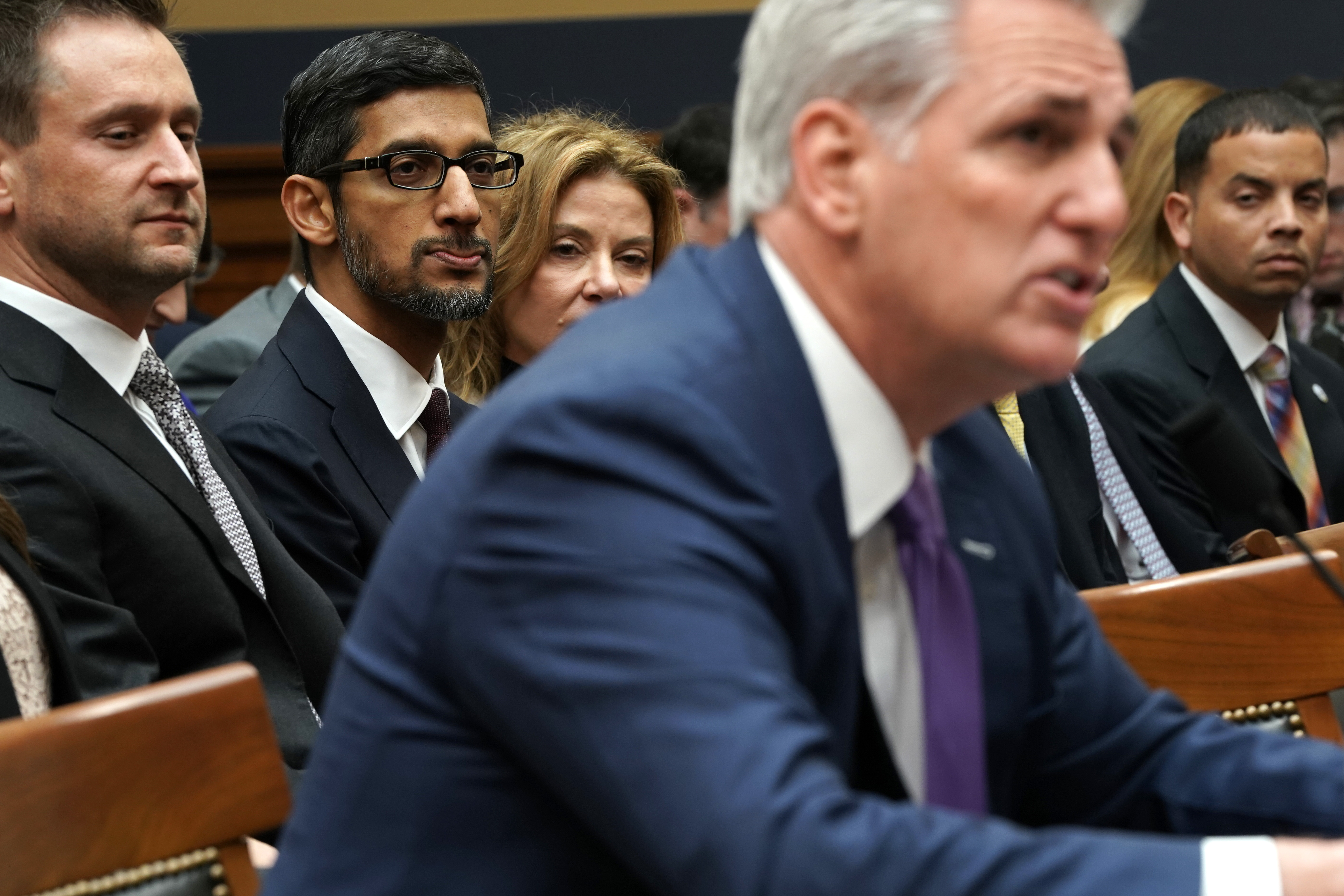 Google CEO Sundar Pichai prepares to testify as House Majority Leader Kevin McCarthy (R-CA) speaks before the House Judiciary Committee at the Rayburn House Office Building on December 11, 2018 in Washington, DC. (Photo by Alex Wong/Getty Images)