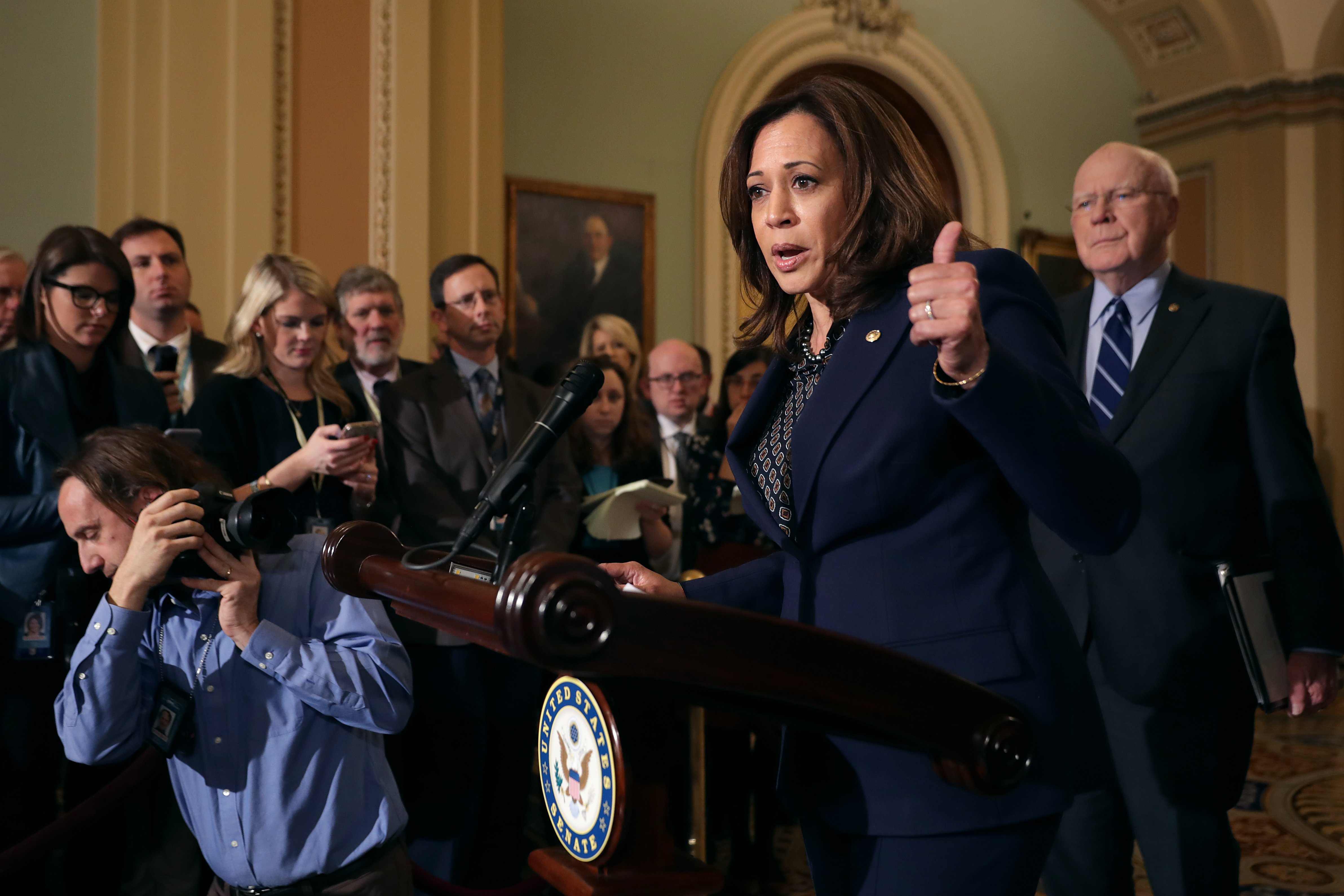 Sen. Kamala Harris talks to reporters with Sen. Patrick Leahy (R) following the weekly Democratic Senate policy luncheon in the U.S. Capitol November 27, 2018 in Washington, DC. (Photo by Chip Somodevilla/Getty Images)