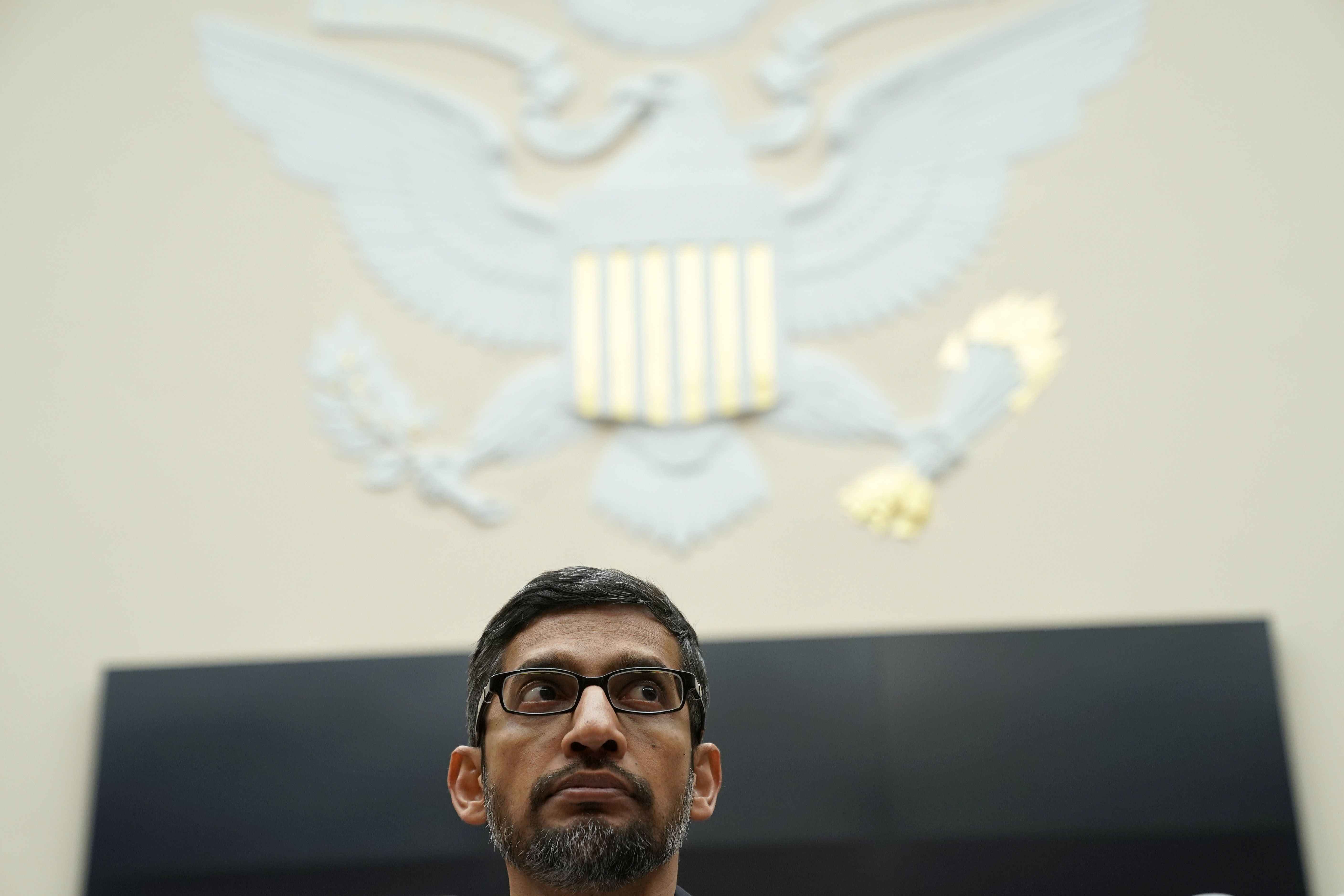 "Google CEO Sundar Pichai testifies before the House Judiciary Committee at the Rayburn House Office Building on December 11, 2018 in Washington, DC. The committee held a hearing on 'Transparency & Accountability: Examining Google and its Data Collection, Use and Filtering Practices."" (Photo by Alex Wong/Getty Images)"