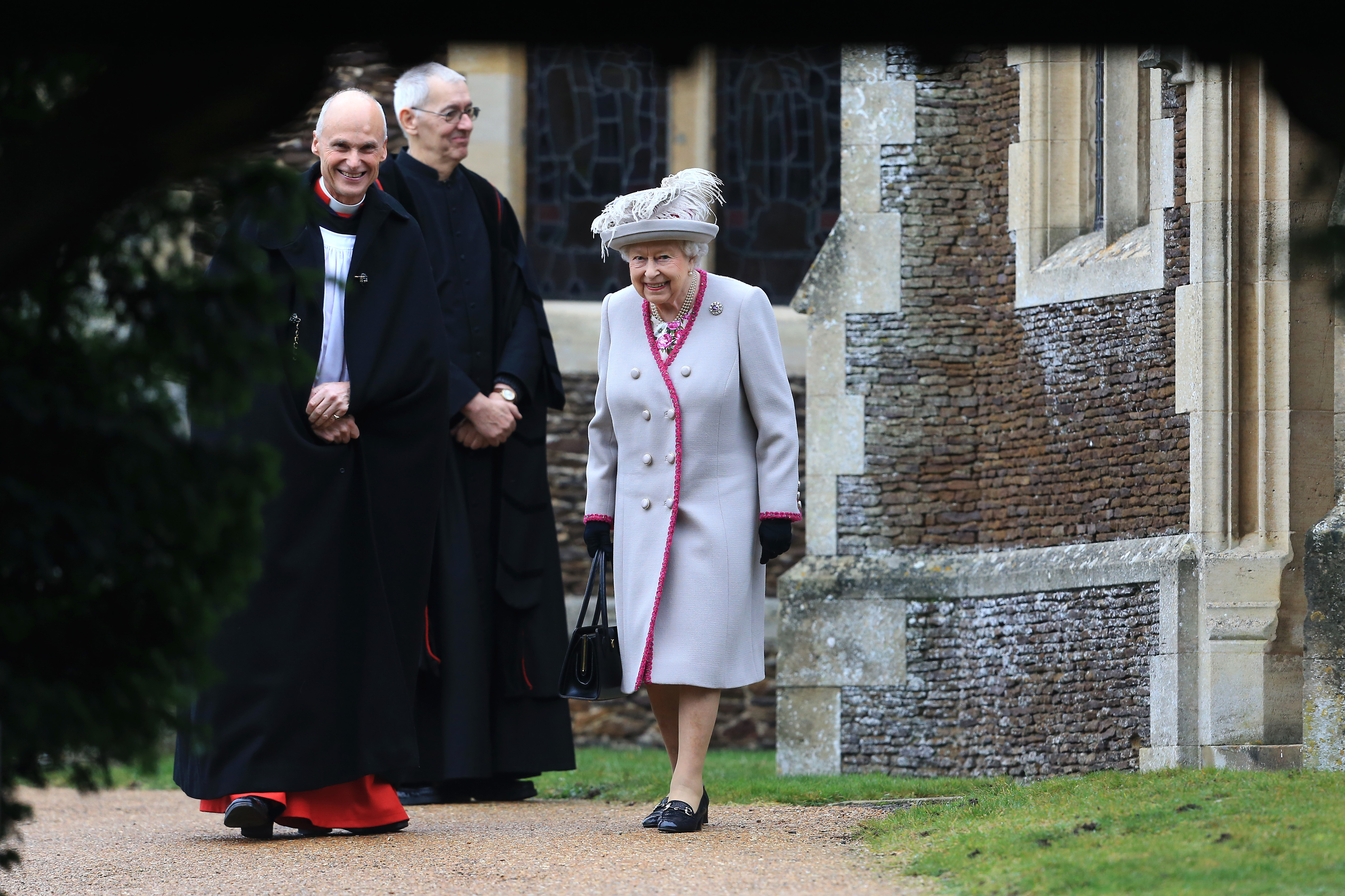Queen Elizabeth II leaves after attending Christmas Day Church service at Church of St Mary Magdalene on the Sandringham estate on December 25, 2018 in King's Lynn, England. (Photo by Stephen Pond/Getty Images)