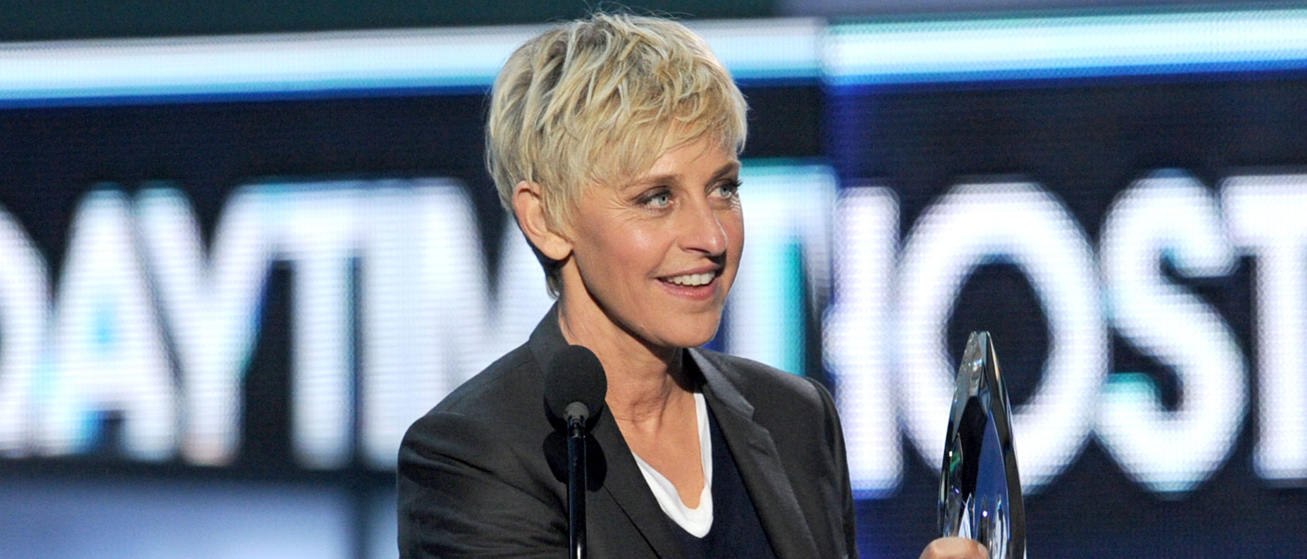 """LOS ANGELES, CA - JANUARY 11: TV personality Ellen DeGeneres, winner Favorite Daytime TV Host for """"The Ellen DeGeneres Show,"""" speaks onstage at the 2012 People's Choice Awards at Nokia Theatre L.A. Live on January 11, 2012 in Los Angeles, California. (Photo by Kevin Winter/Getty Images)"""